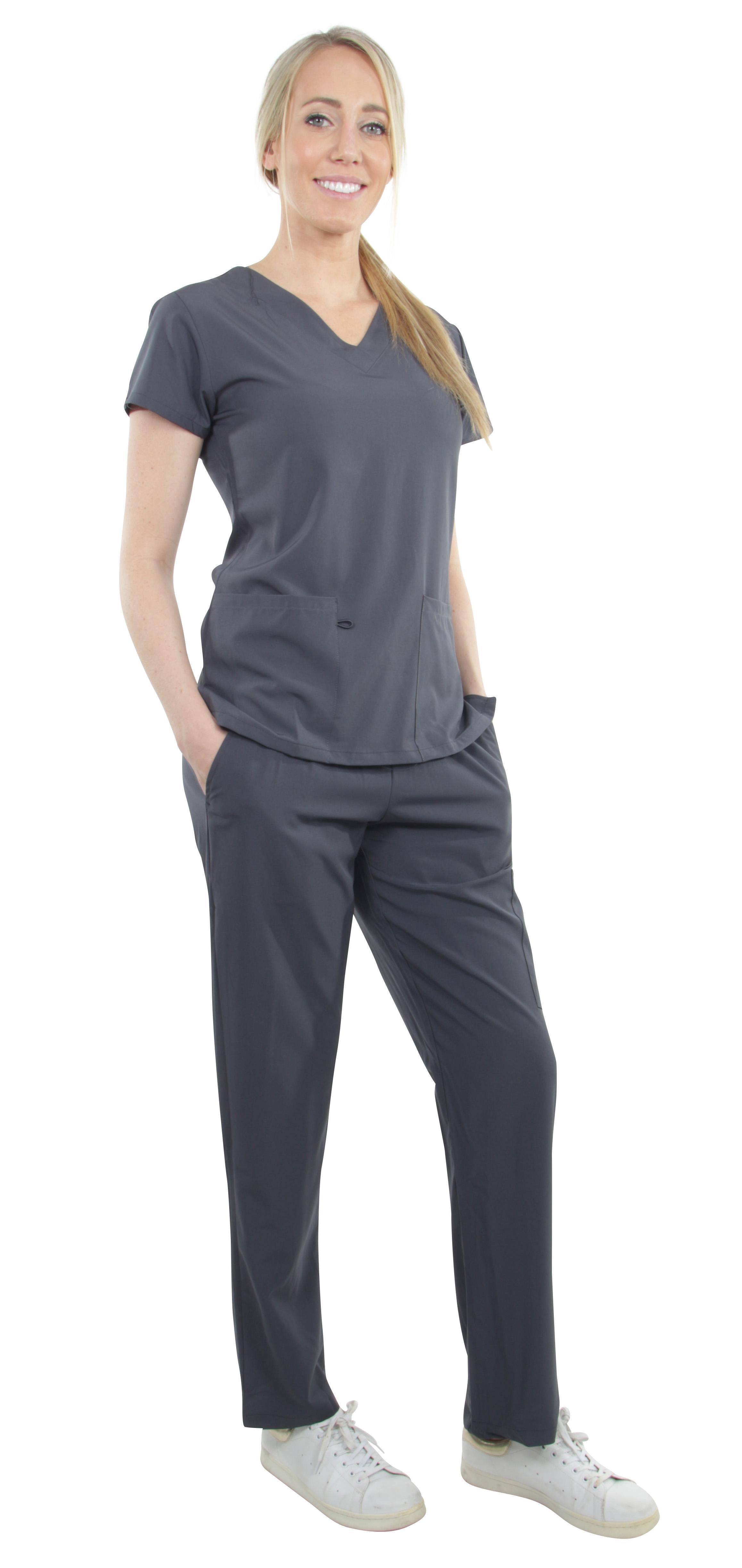 Unisex-Performance-Stretch-Medical-Uniform-Five-Pockets-V-Neck-Scrubs-Sets thumbnail 47