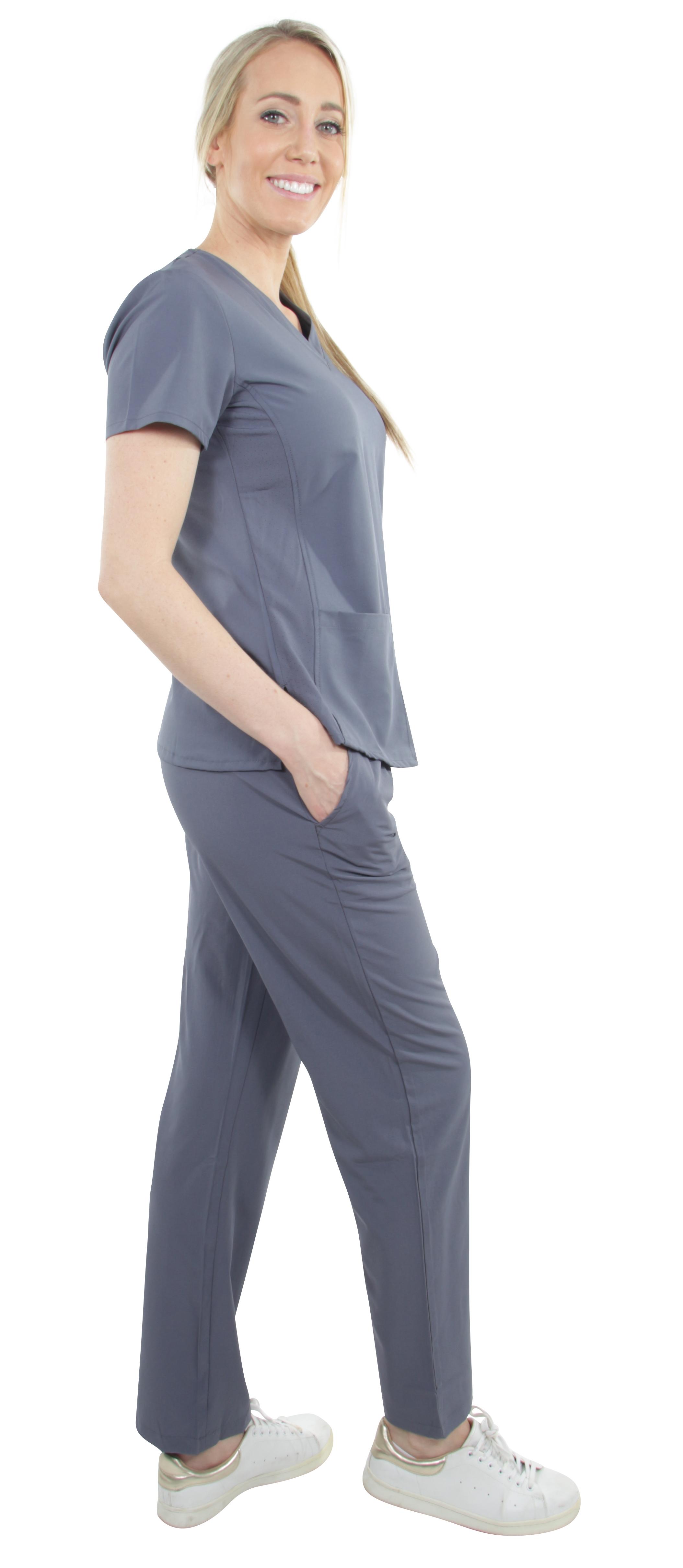 Unisex-Stretch-Medical-Uniform-Five-Pockets-V-Neck-Scrubs-Sets-with-Side-Panels thumbnail 28