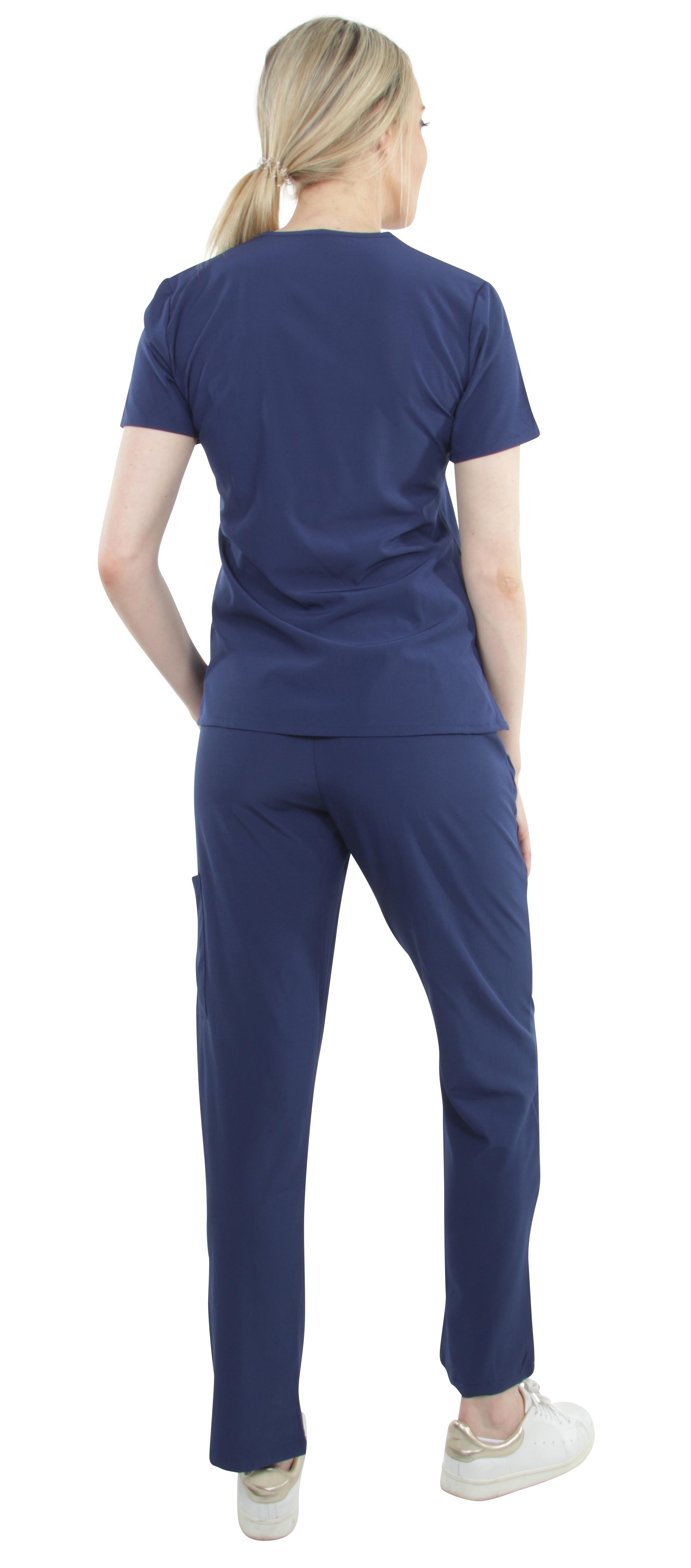 Unisex-Stretch-Medical-Uniform-Five-Pockets-V-Neck-Scrubs-Sets-with-Side-Panels thumbnail 34
