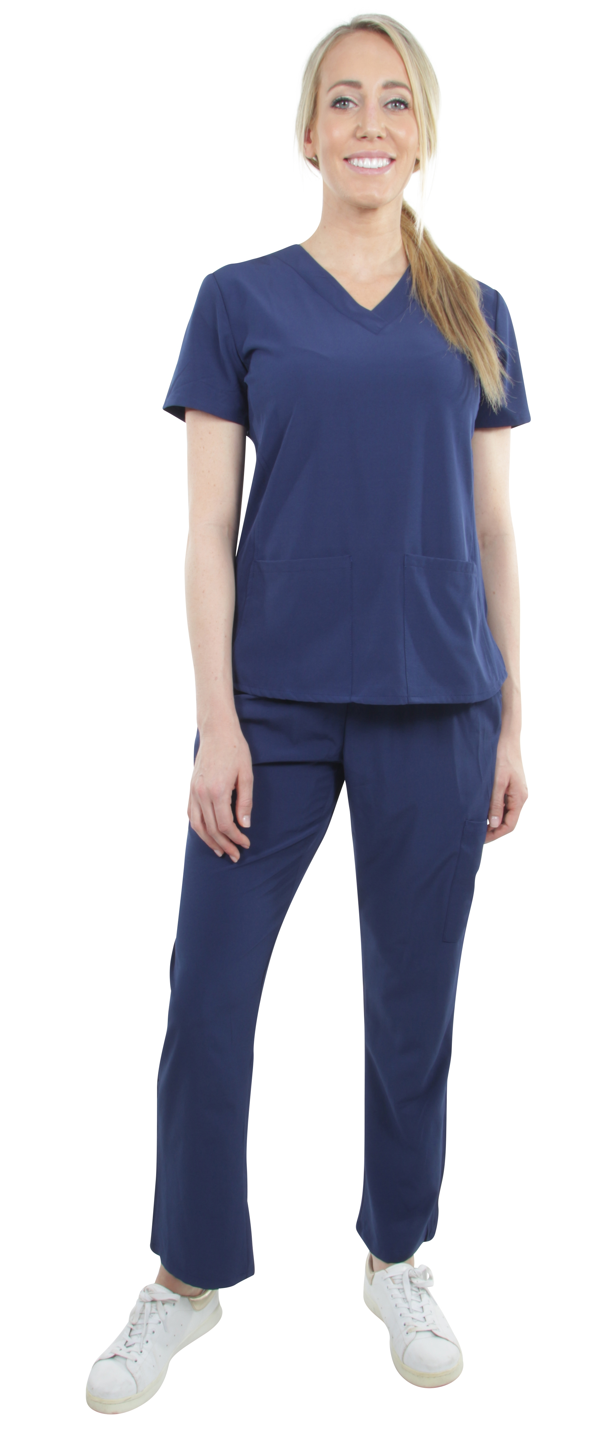 Unisex-Stretch-Medical-Uniform-Five-Pockets-V-Neck-Scrubs-Sets-with-Side-Panels thumbnail 33