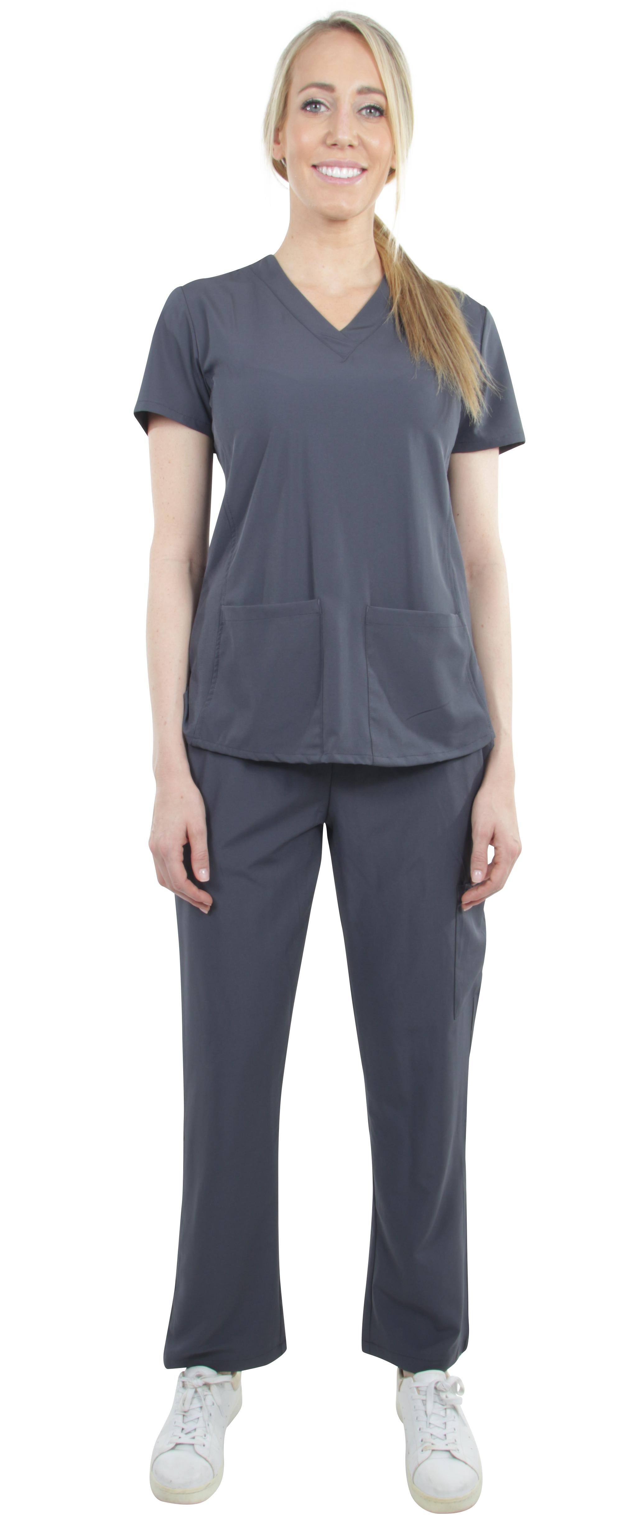 Unisex-Stretch-Medical-Uniform-Five-Pockets-V-Neck-Scrubs-Sets-with-Side-Panels thumbnail 44