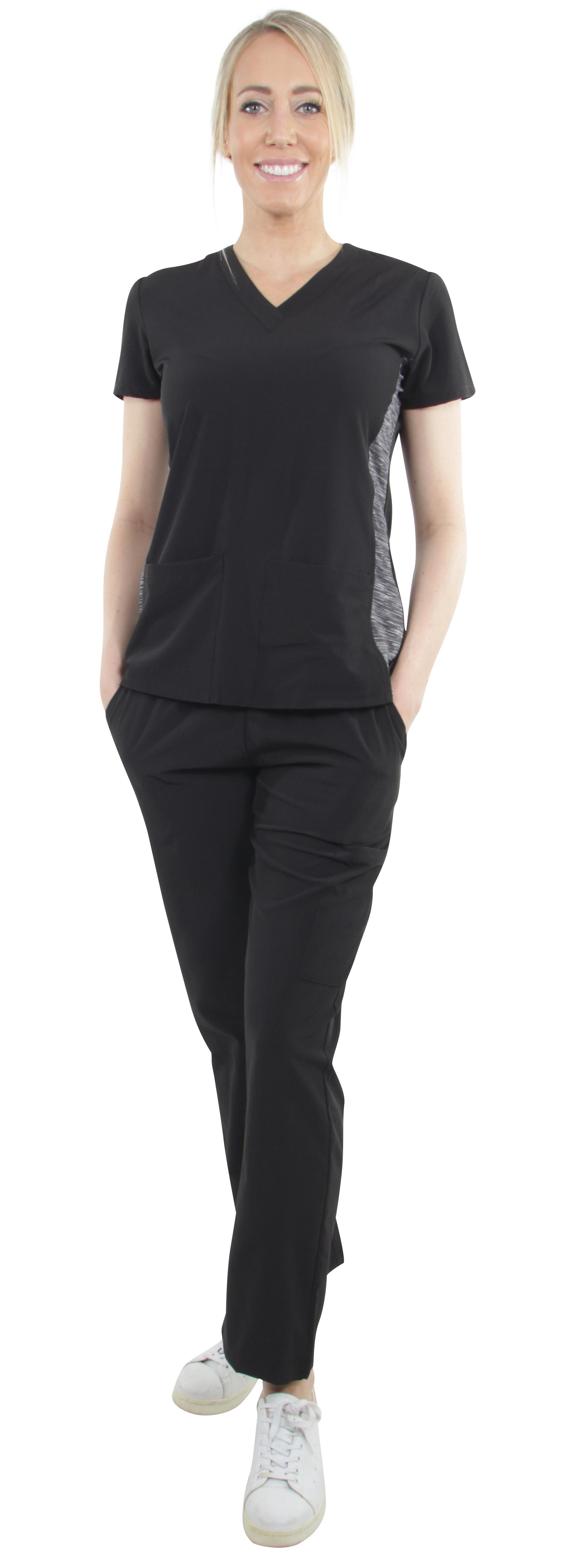Unisex-Performance-Stretch-Medical-Uniform-Five-Pockets-V-Neck-Scrubs-Sets miniature 13