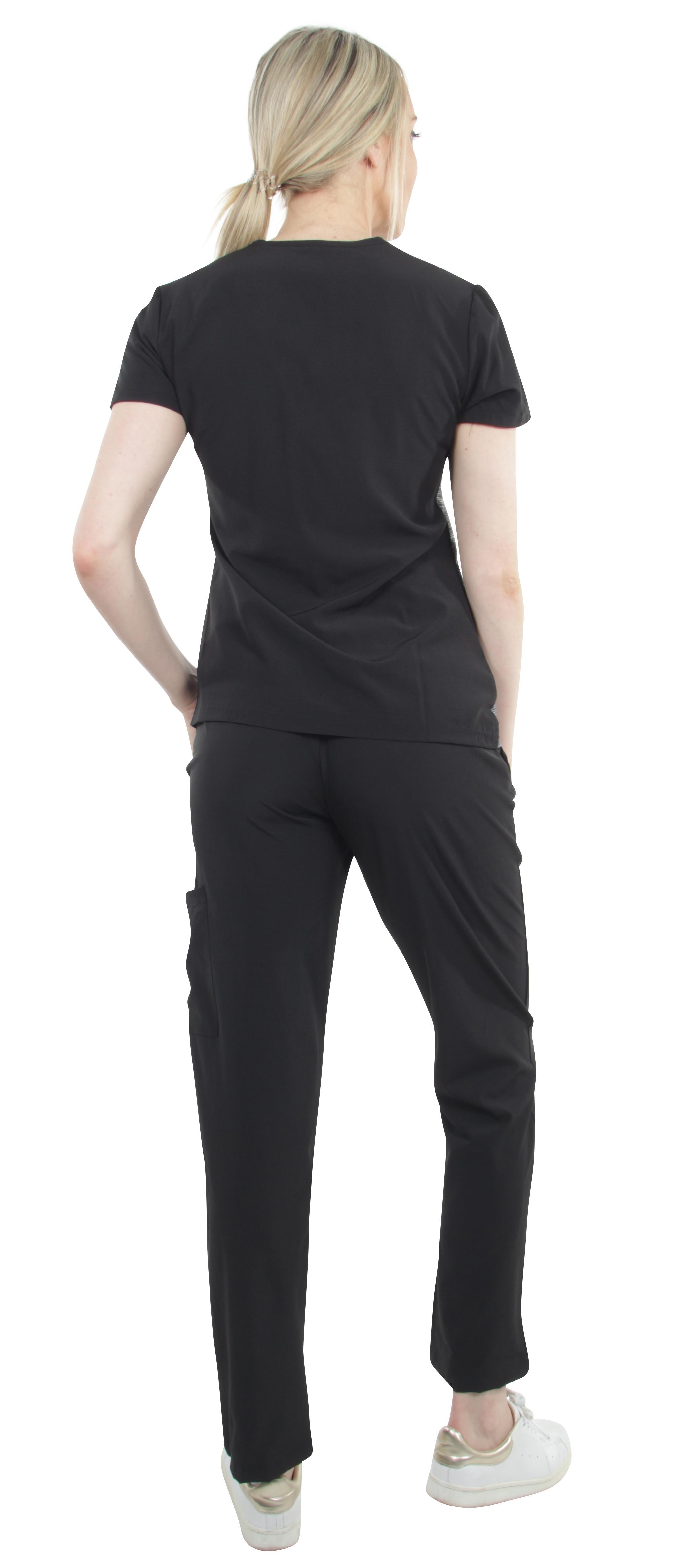 Unisex-Performance-Stretch-Medical-Uniform-Five-Pockets-V-Neck-Scrubs-Sets miniature 16