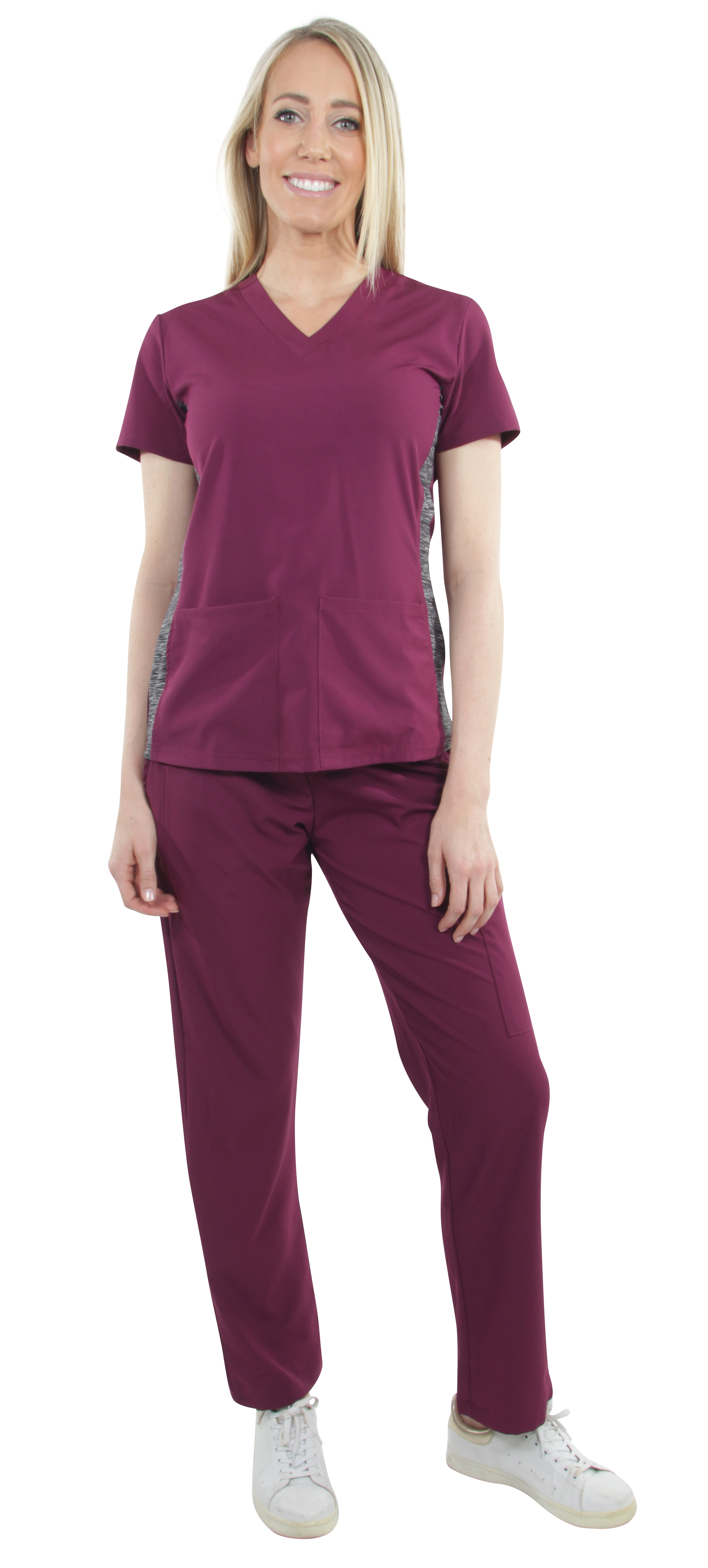 Unisex-Performance-Stretch-Medical-Uniform-Five-Pockets-V-Neck-Scrubs-Sets miniature 8