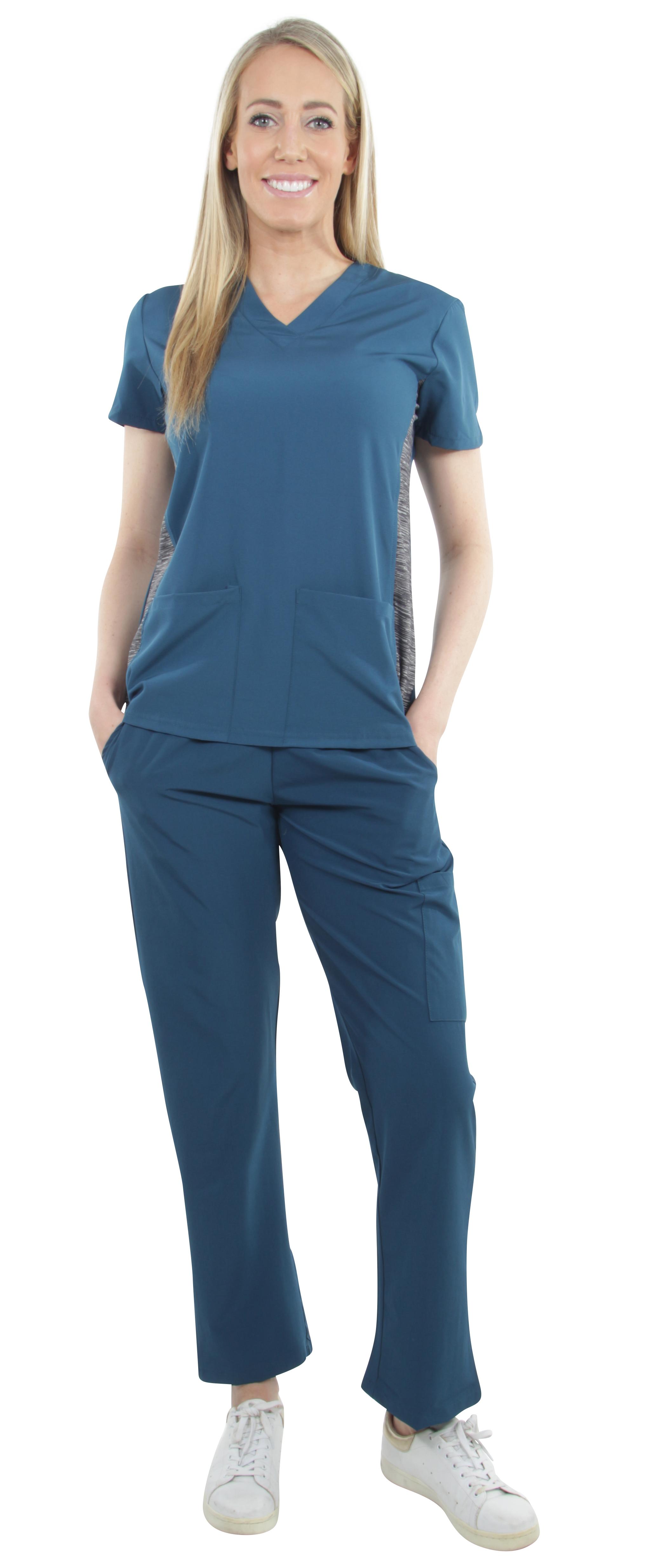 Unisex-Performance-Stretch-Medical-Uniform-Five-Pockets-V-Neck-Scrubs-Sets miniature 20
