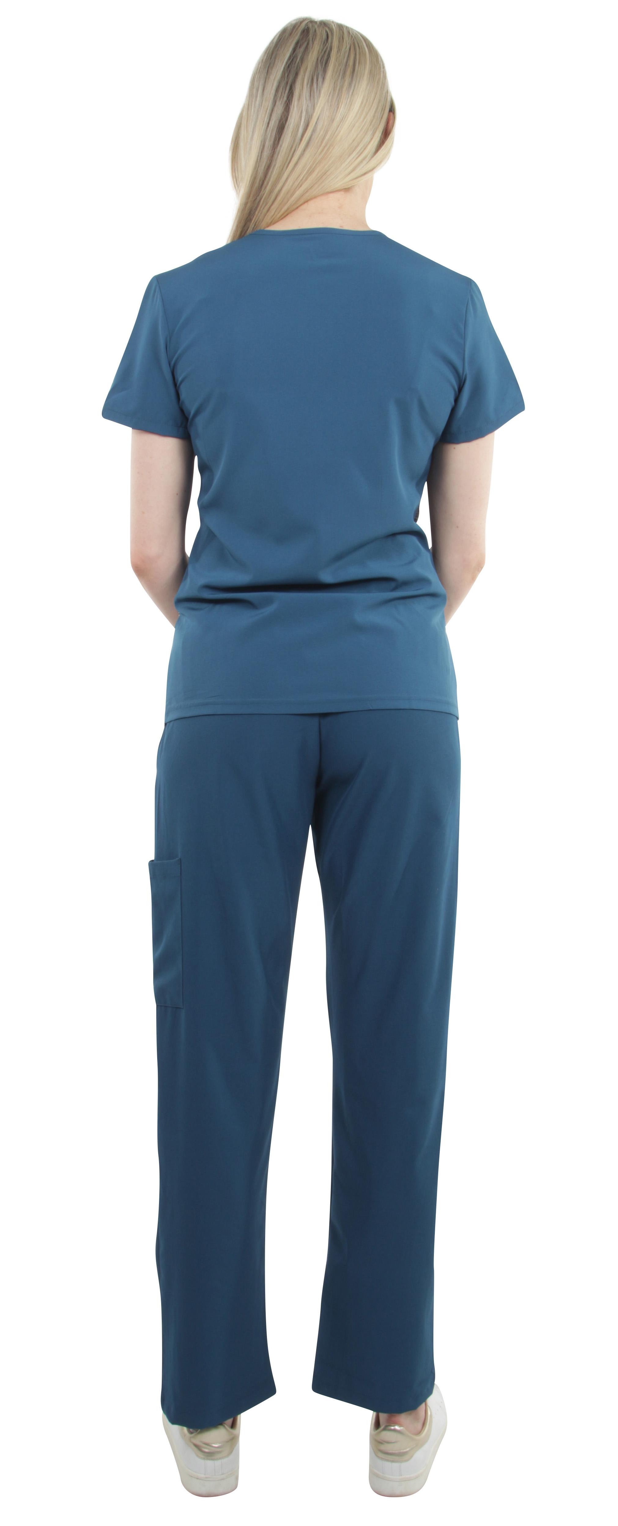 Unisex-Performance-Stretch-Medical-Uniform-Five-Pockets-V-Neck-Scrubs-Sets miniature 21