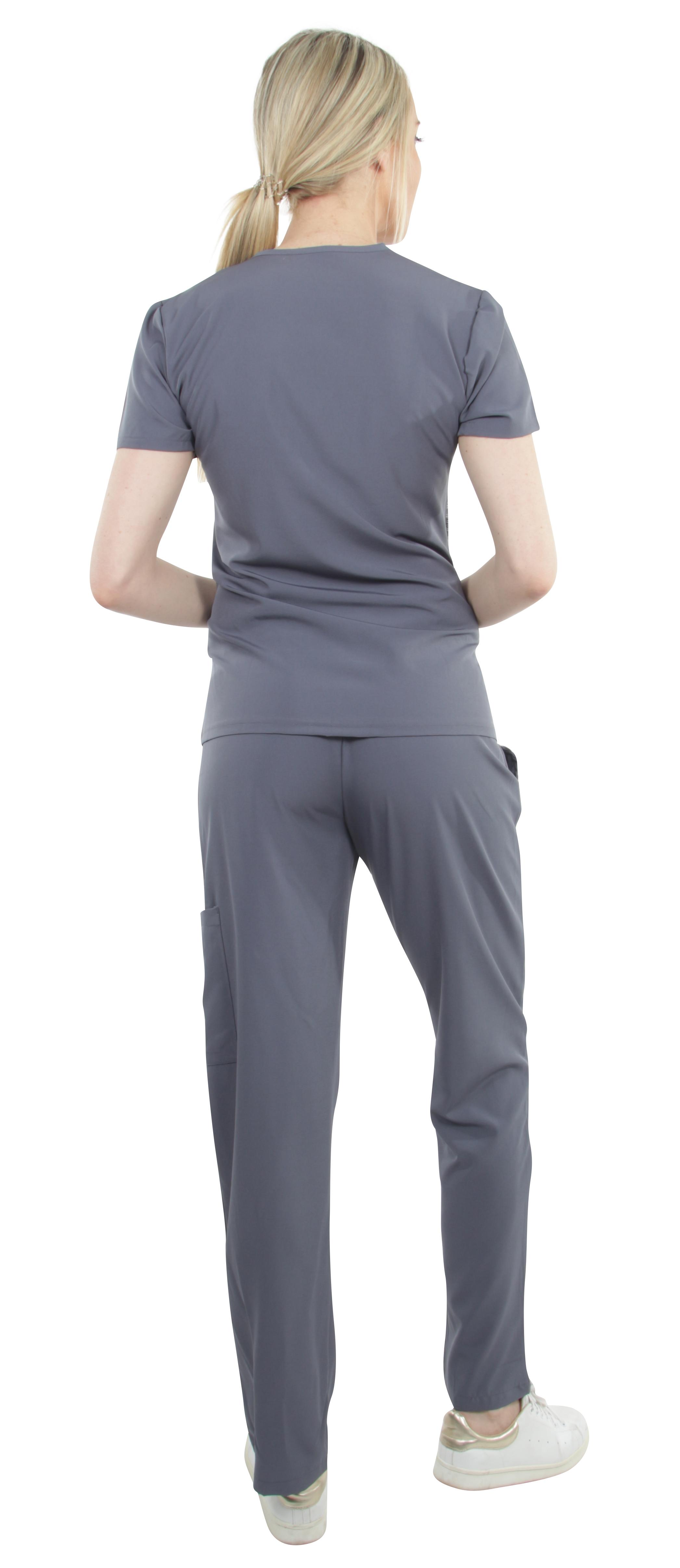 Unisex-Performance-Stretch-Medical-Uniform-Five-Pockets-V-Neck-Scrubs-Sets miniature 27