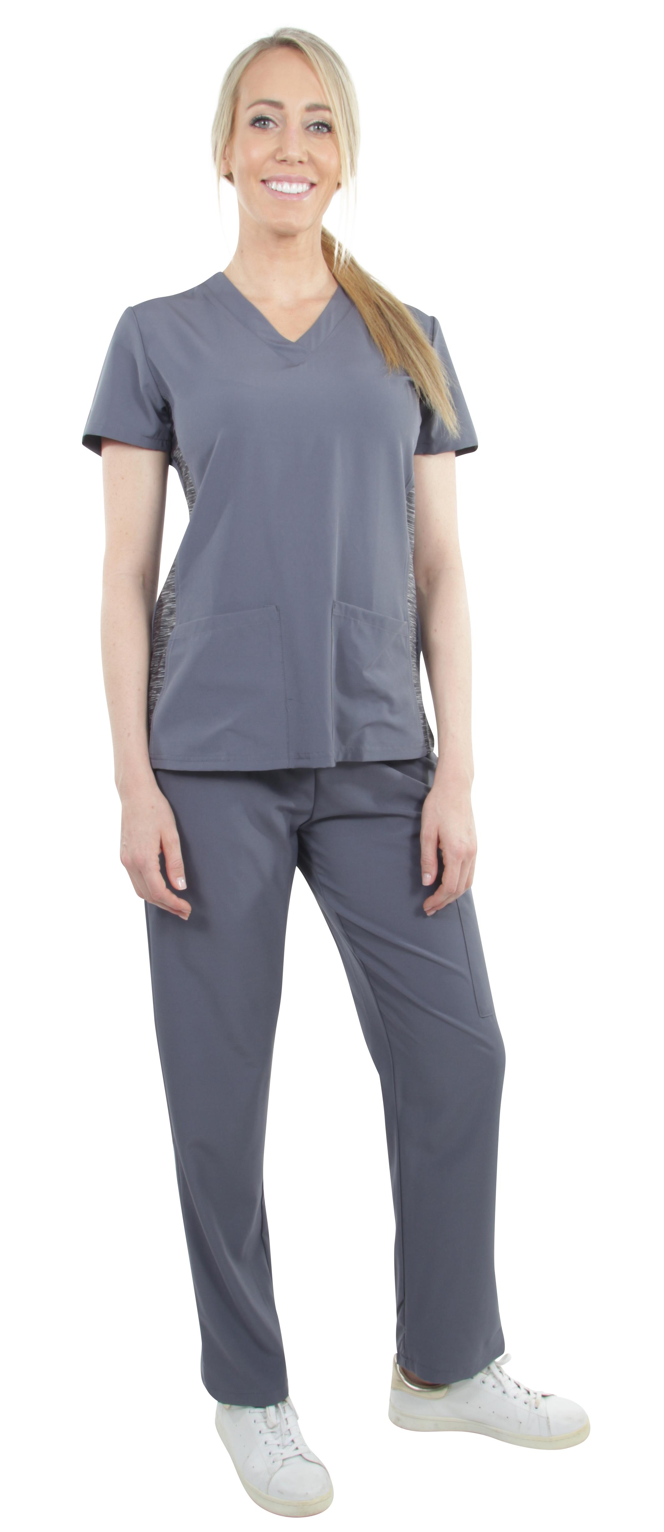 Unisex-Performance-Stretch-Medical-Uniform-Five-Pockets-V-Neck-Scrubs-Sets miniature 26