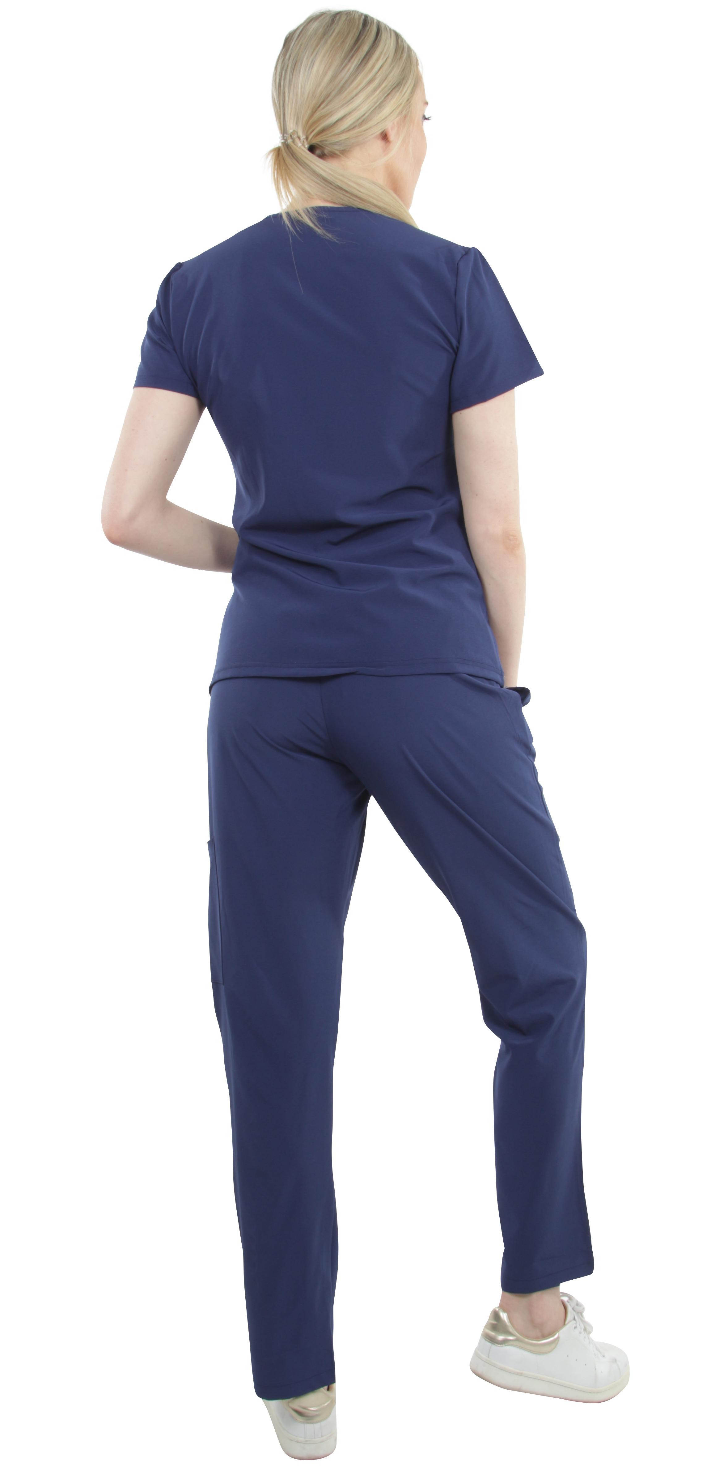 Unisex-Performance-Stretch-Medical-Uniform-Five-Pockets-V-Neck-Scrubs-Sets miniature 34
