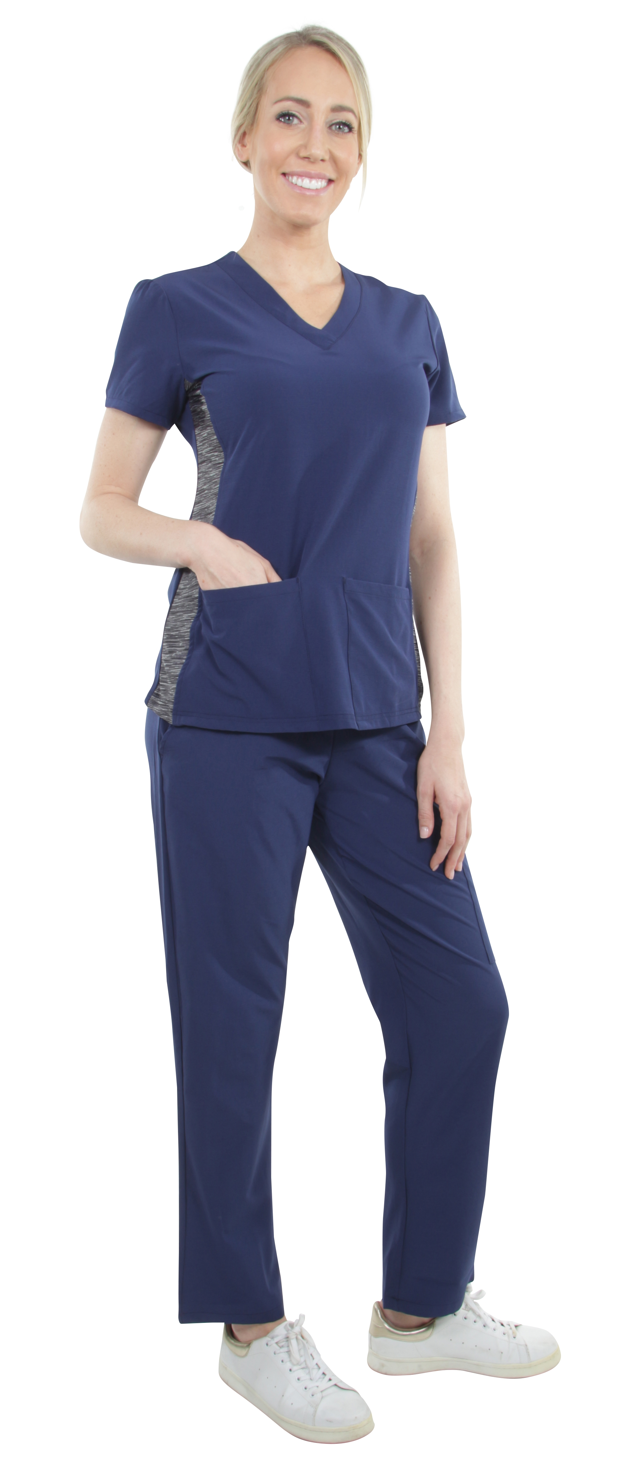 Unisex-Performance-Stretch-Medical-Uniform-Five-Pockets-V-Neck-Scrubs-Sets miniature 33