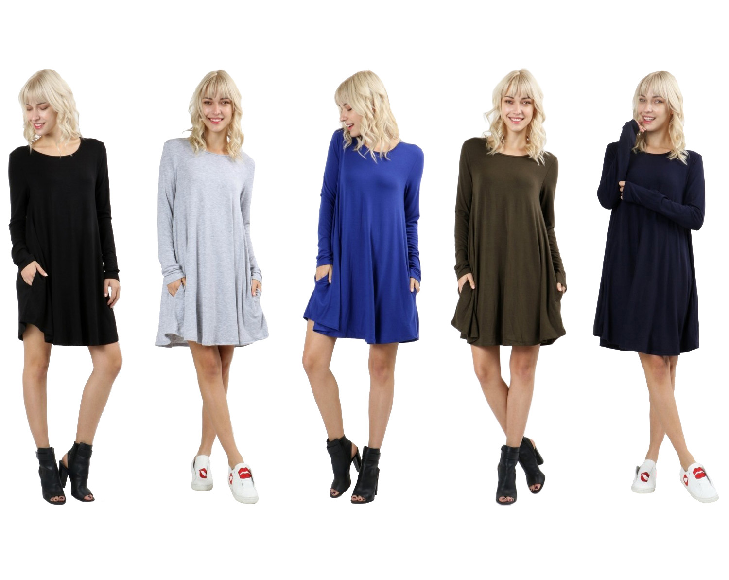 RS9921P-Women-039-s-Long-Sleeve-Flare-Hem-Loose-Fit-Round-Neck-Dress-Tunic-Top thumbnail 10