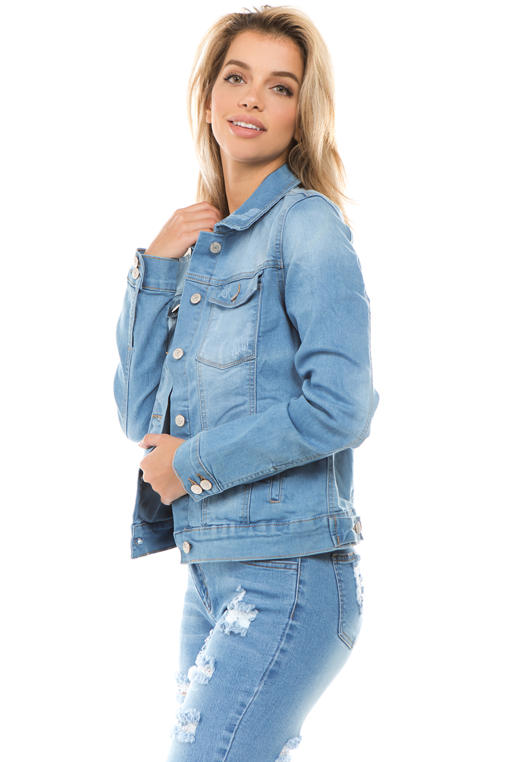 Women-039-s-Juniors-Boyfriend-Premium-Denim-Jackets-Long-Sleeve-Jean-Coats thumbnail 5