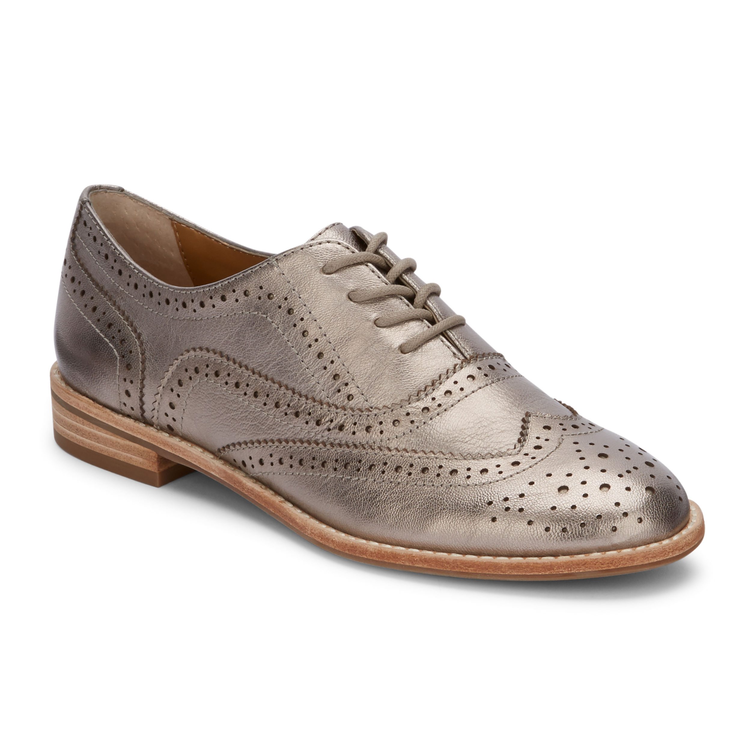 Women's Erica Genuine Leather Wingtip Oxford Shoe Pewter