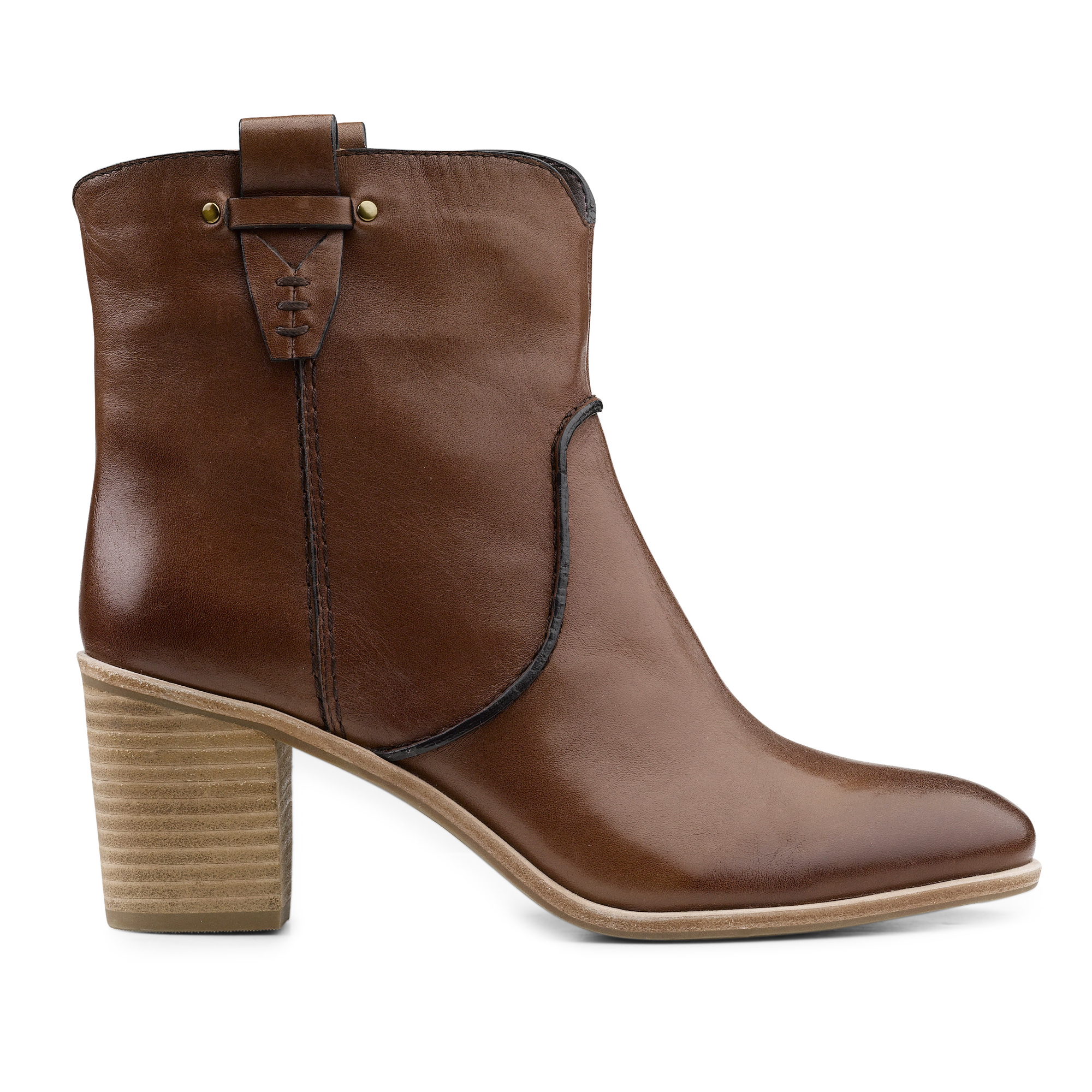 G-H-Bass-amp-Co-Womens-Sophia-Genuine-Leather-Slip-on-Heeled-Ankle-Bootie