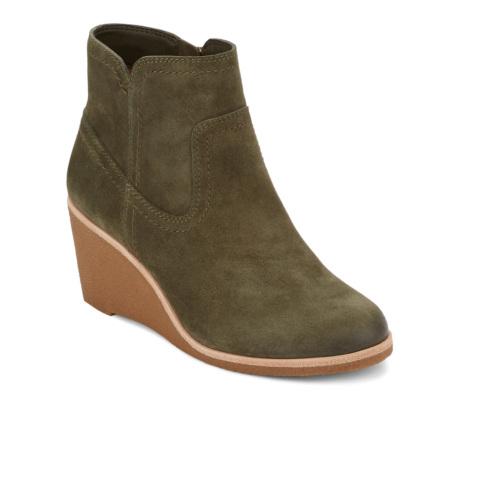 G.H. Bass & Co Womens Rosanne Leather Wedge Heel Bootie (Muliti Colour)