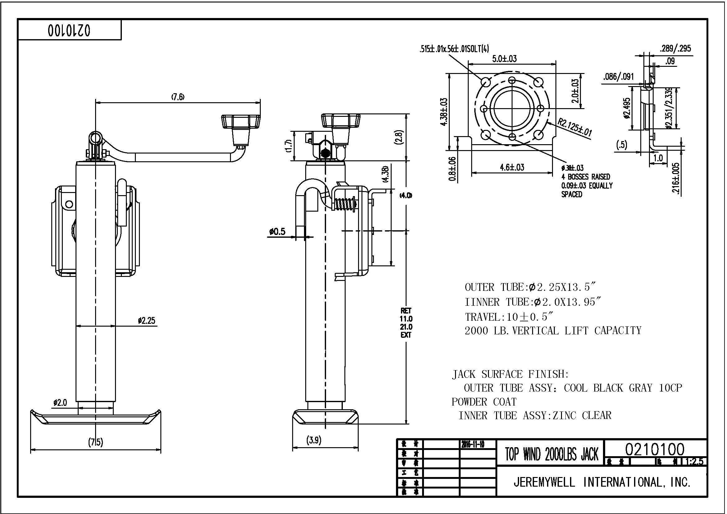 Trailer Tongue Jack Lift Swivel Heavy Duty 1 Ton 2000 Lbs Camper Boat  U2013 Jeremywell