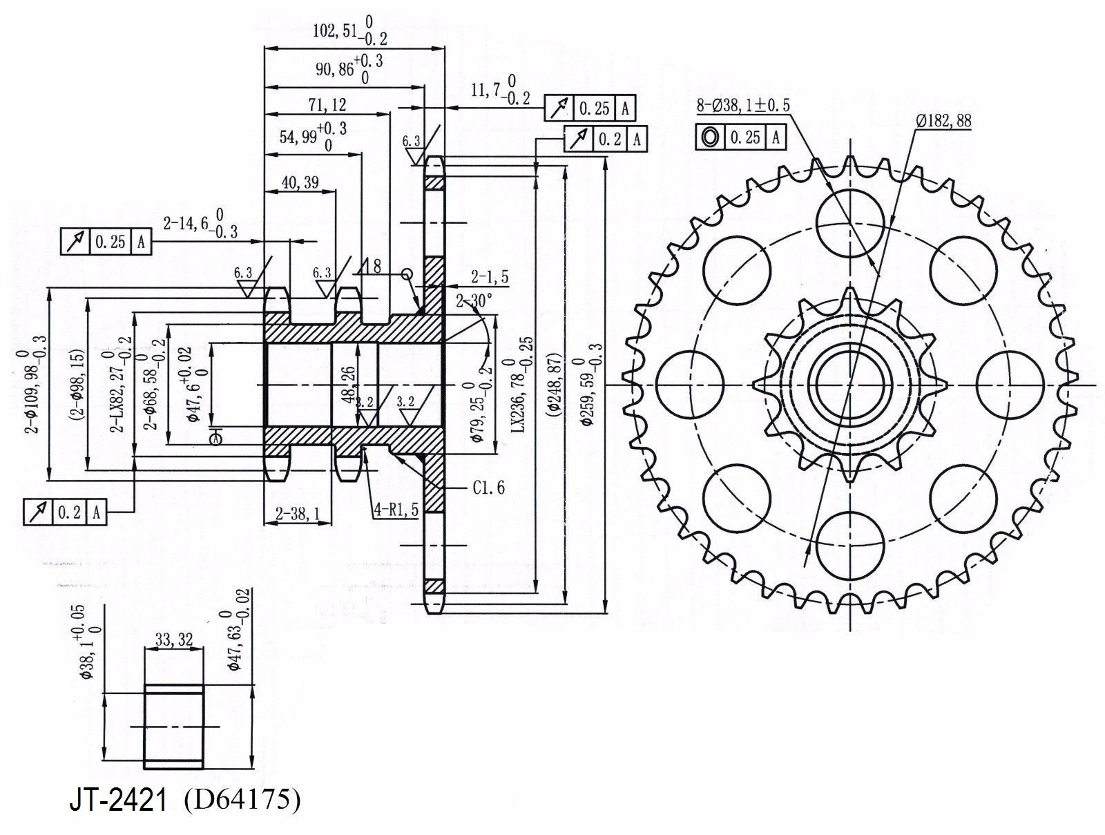d76529 chain drive sprocket for case