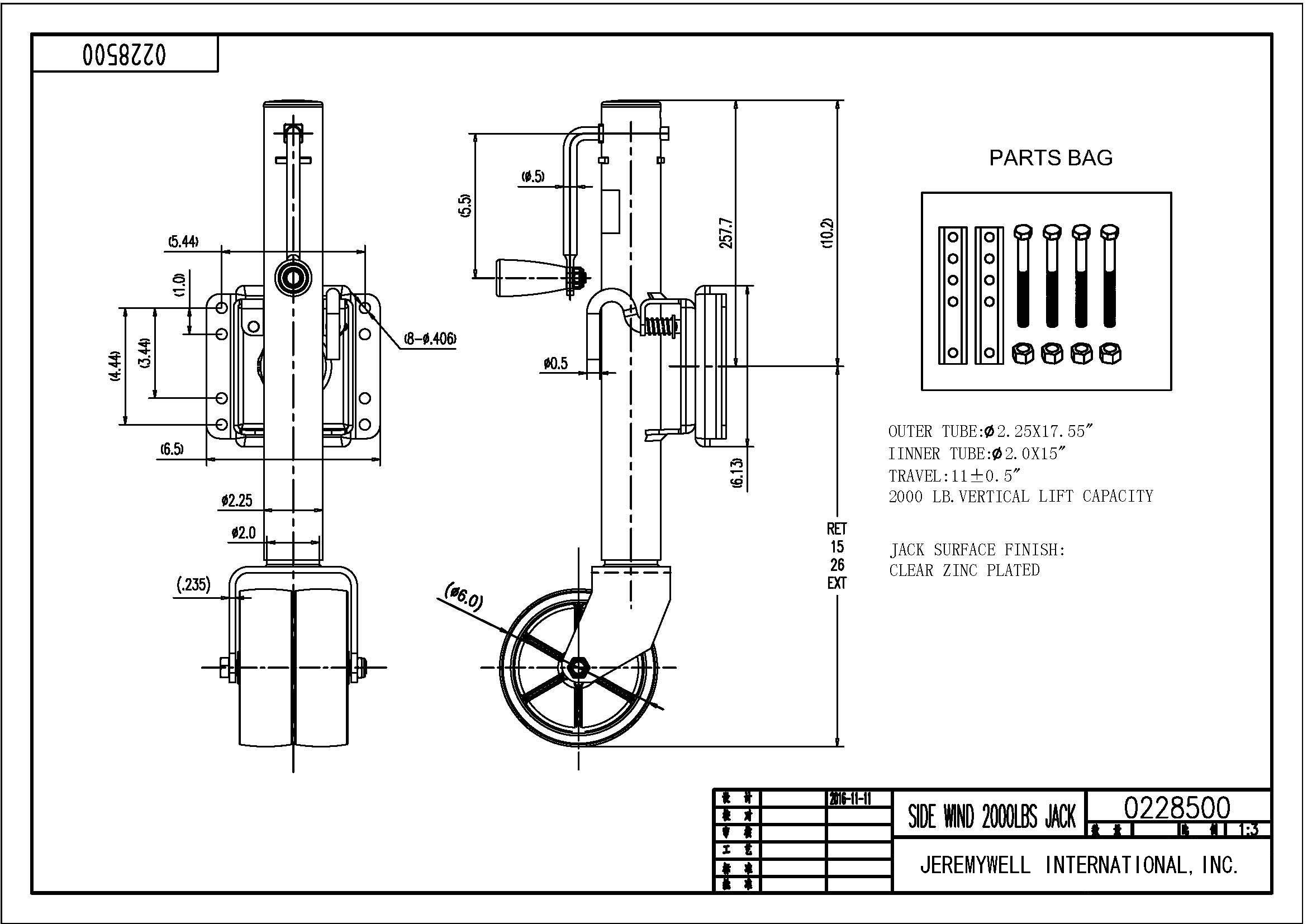 swivel trailer jack double wheel 2000 lb tongue twin boat towing 26 rh ebay  com electric trailer jack diagram electric trailer jack wiring diagram