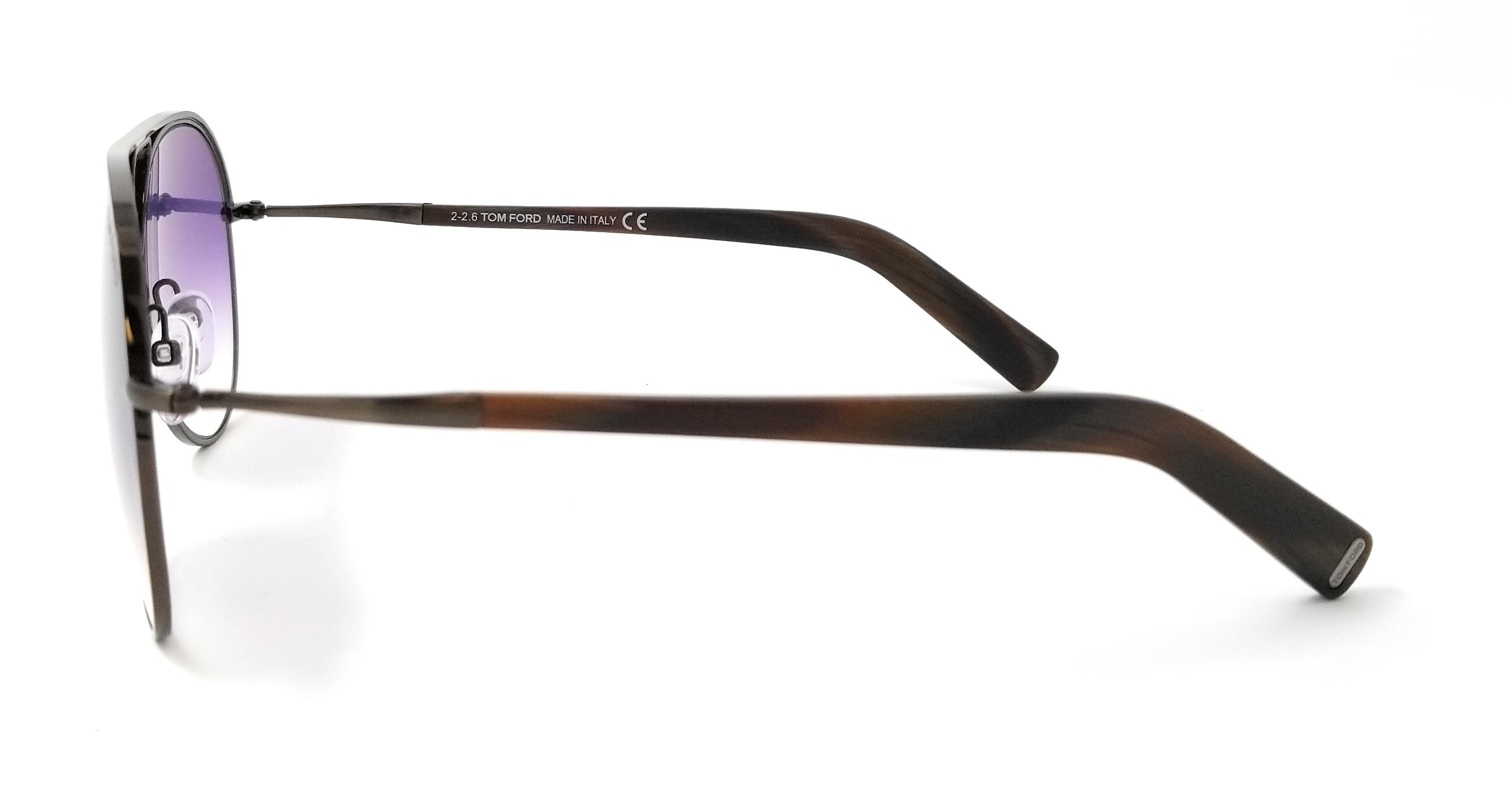 3d4b8e113f223 Tom Ford Sunglasses FT0448 48Z Shiny Gunmetal Dark Brown   Purple Gradient