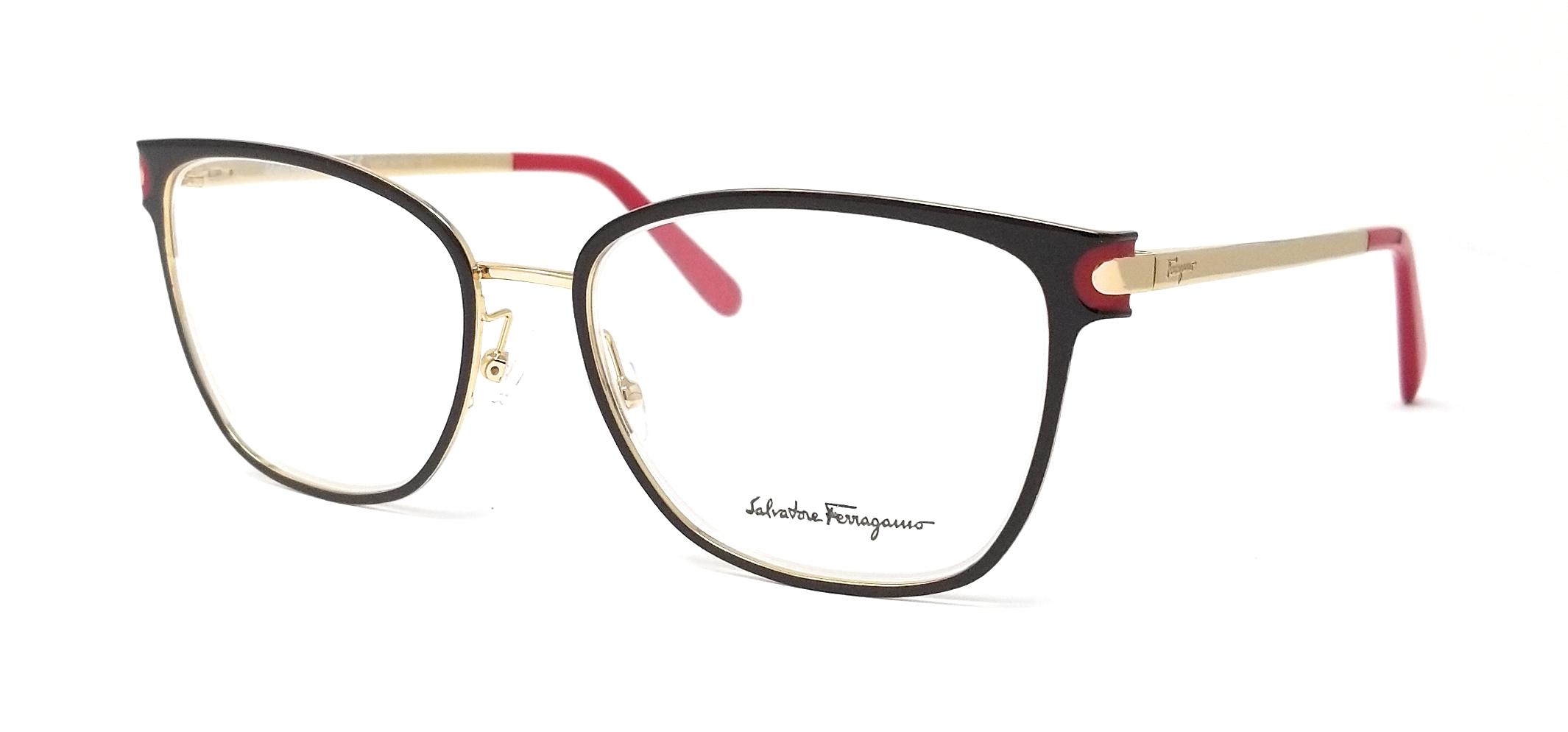 810b447e52c Salvatore Ferragamo Eyeglasses SF2150 251 Brown-Shiny Gold Rectangular 53mm