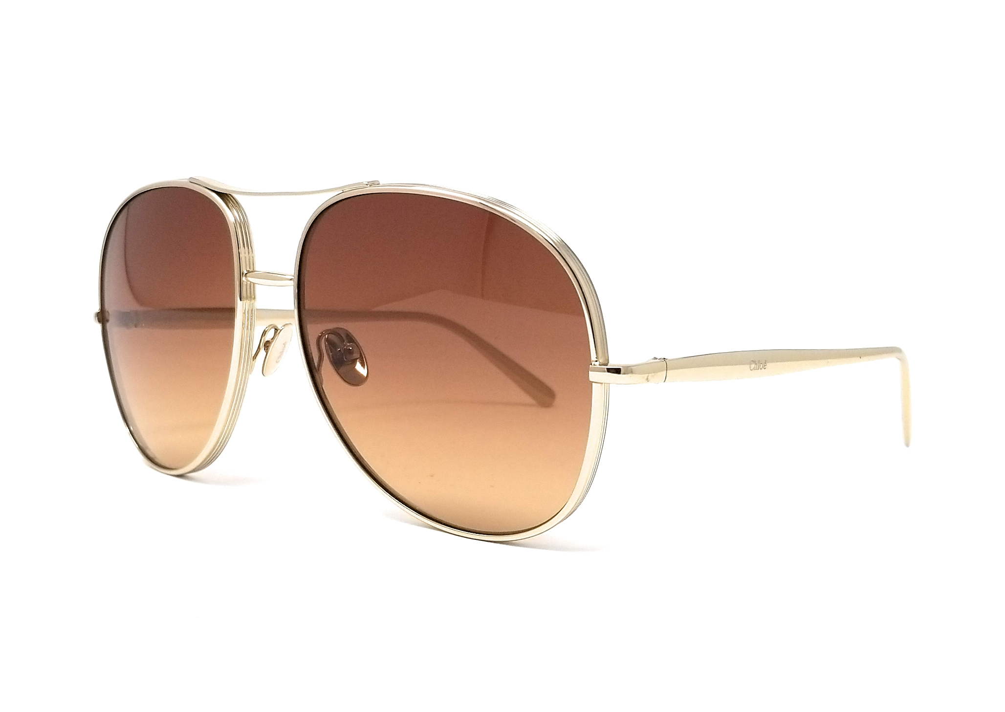 110bbf81a4f8 Details about CHLOE Sunglasses CE127S 743 Light Gold Brown Aviator 61x16x135