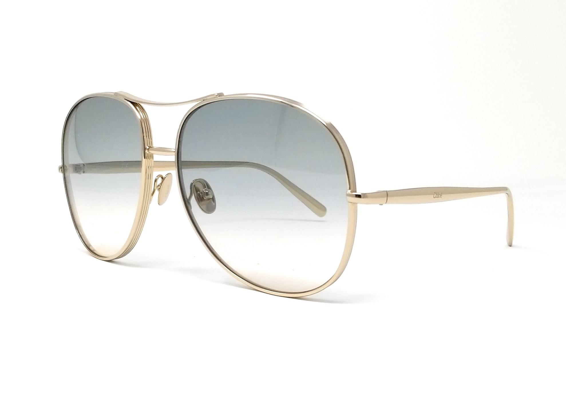 043d4cb00186 Details about CHLOE Sunglasses CE127S 768 Light Gold Light Grey Aviator  61x16x135