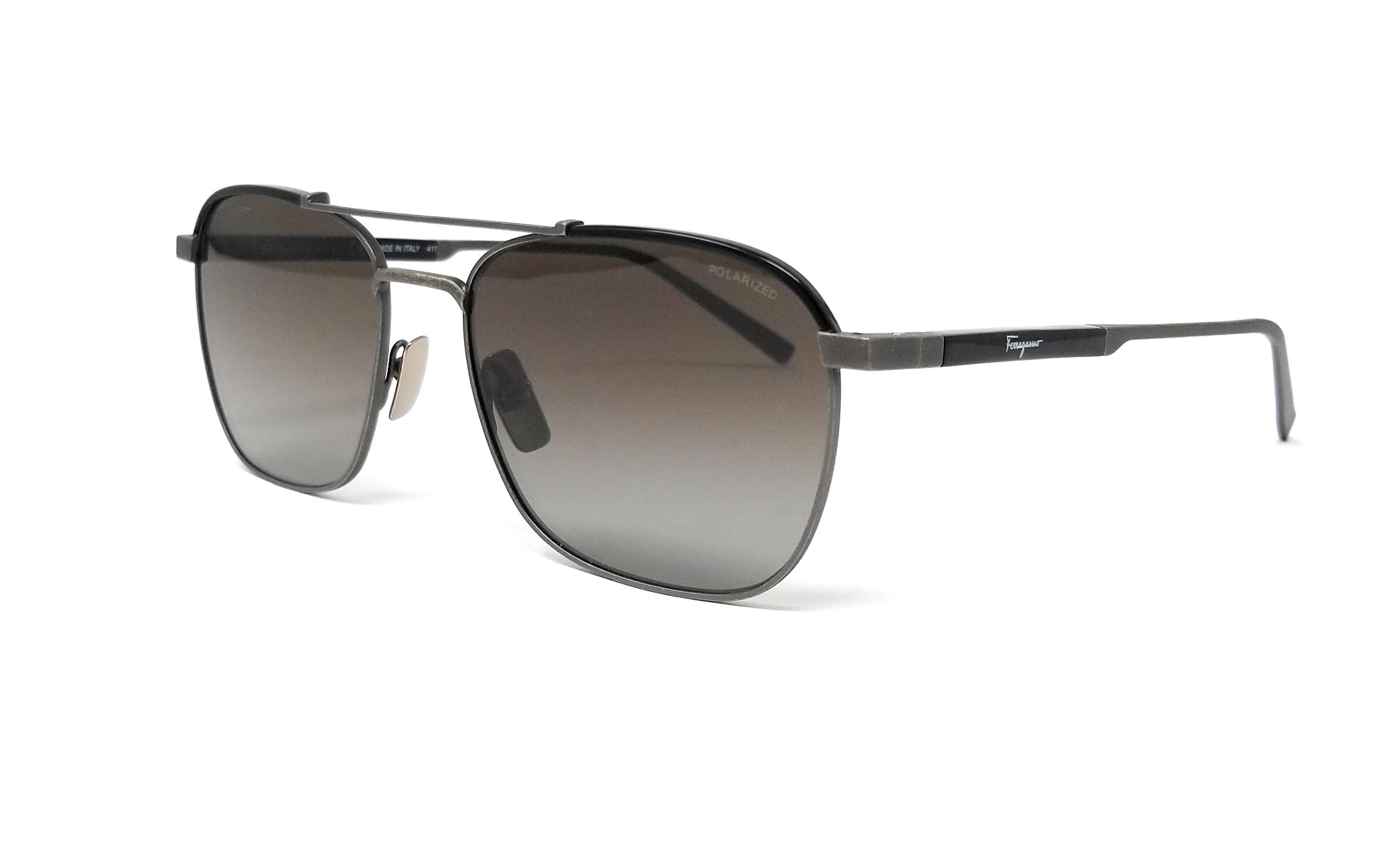 24586f46f692 Details about Salvatore Ferragamo Sunglasses Polarized SF162SP 074 Antique  Ruthenium-Black