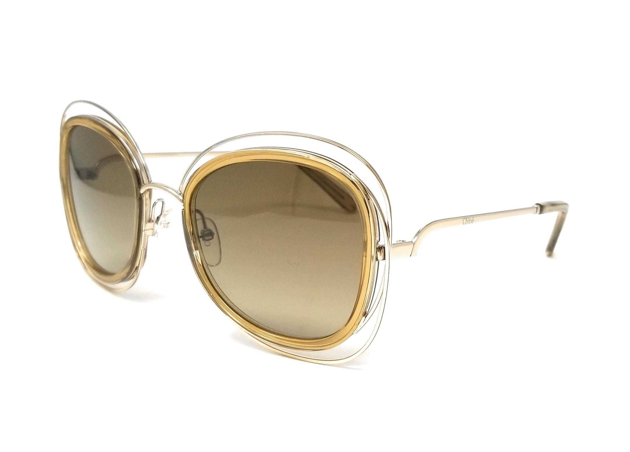 98b0a423986 Details about CHLOE Sunglasses CE123S 743 Light Gold Cat Eye Women s  56x23x135