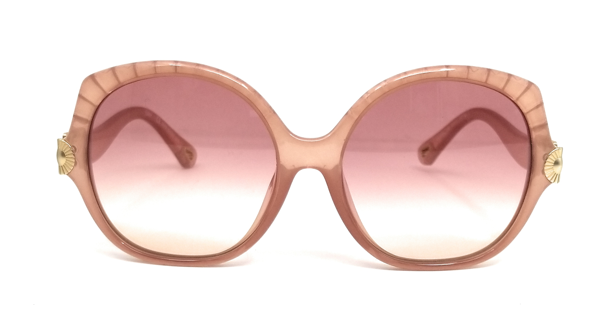 Jimmy Choo Selby Nude Acetate Square Sunglasses With Brown