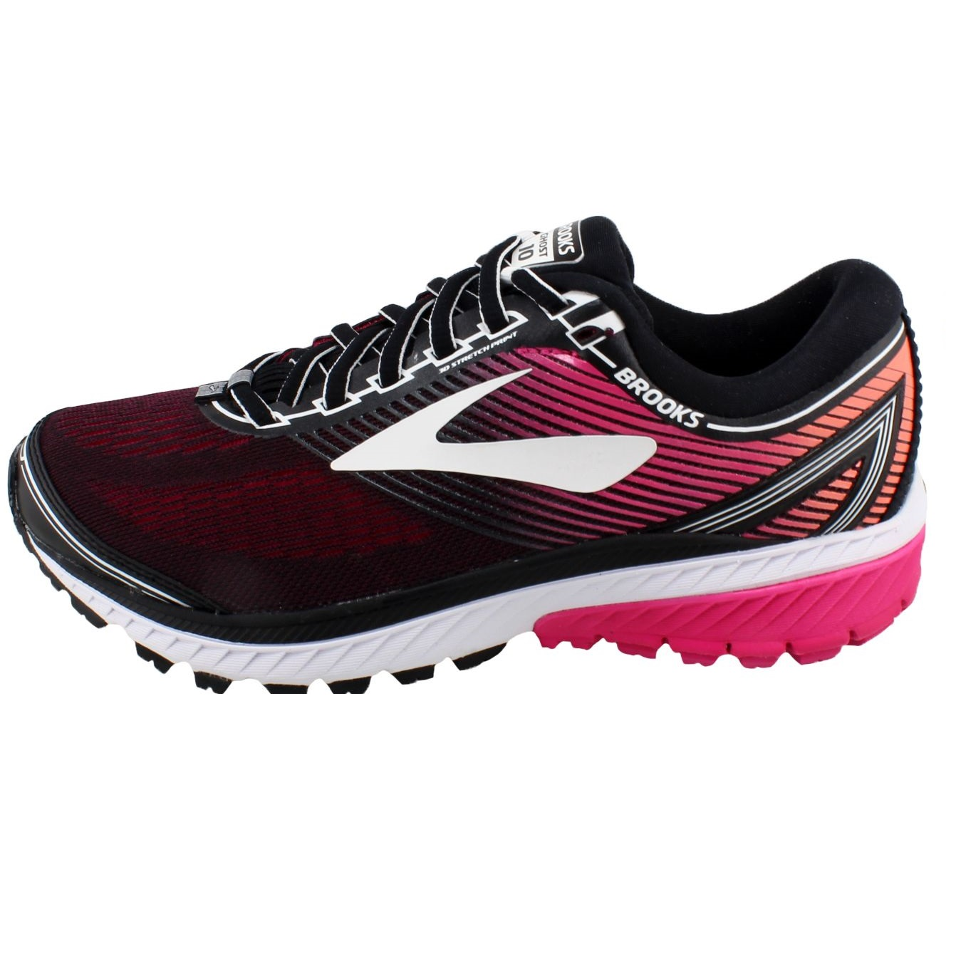 13006bfc17a1 Details about Brooks Ghost 10 Womens Neutral Running Shoes, Black/Pink