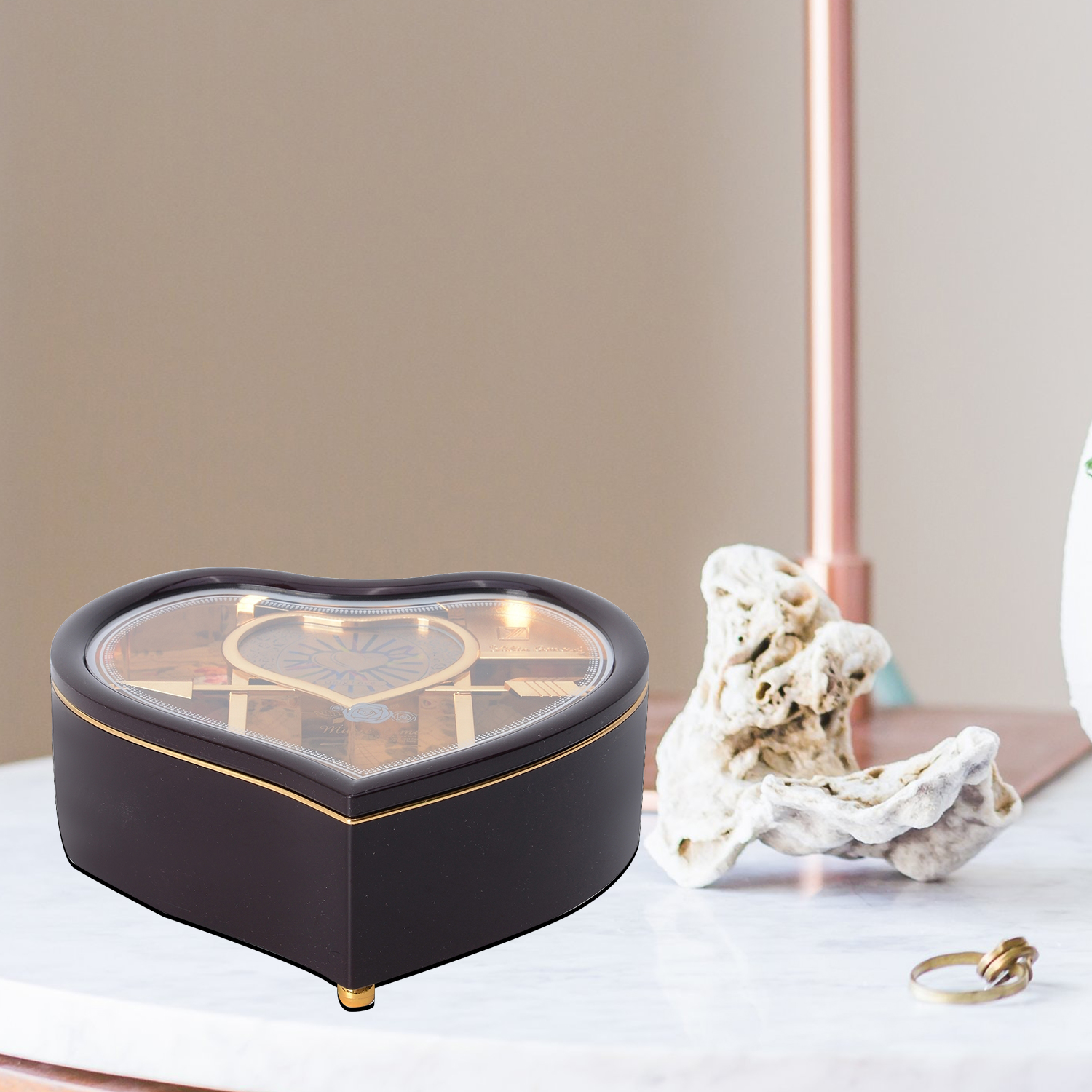 thumbnail 14 - Valentine Heart Shape Music Dancing Jewelry Box with Ballerina Magnetic Dancer