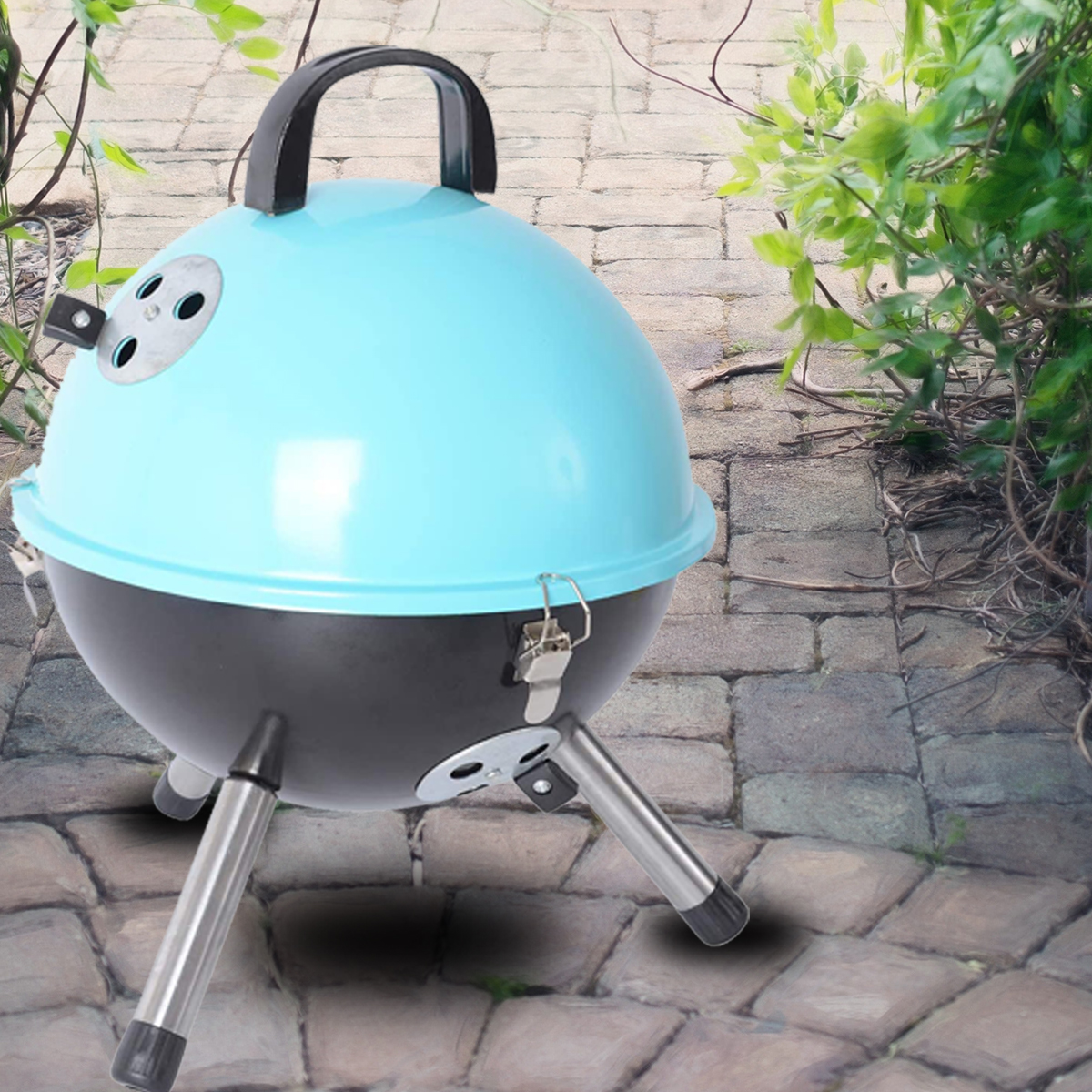 thumbnail 20 - Outdoor Backyard Cooking Mini Portable Charcoal BBQ Grill Bottom Storage
