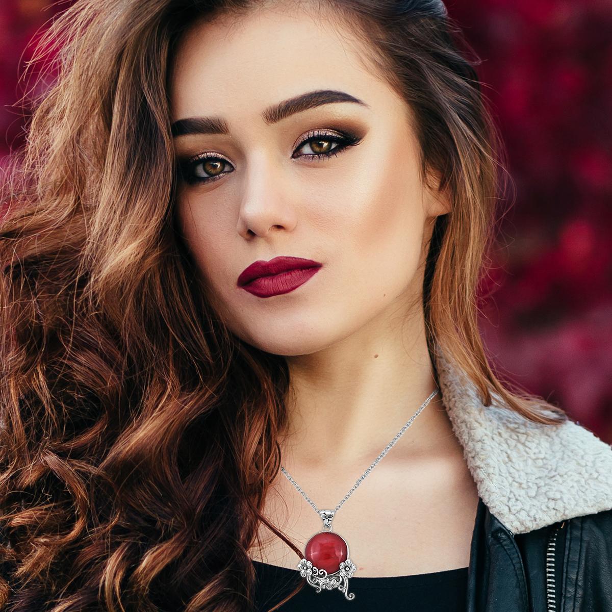 925 Sterling Silver Sponge Coral Elegant Fashion Pendant Jewelry Gift for Women