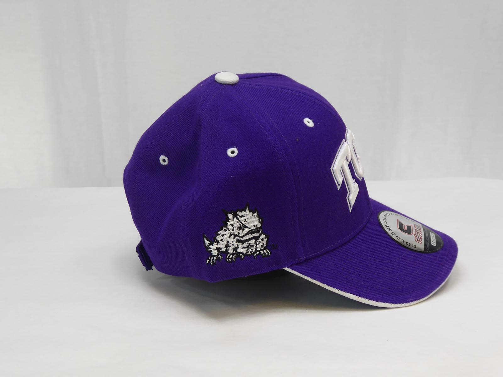 Texas Christian University with embroidered TCU on front Team logo on side  One Size Fits All Hook   Loop Fastener Purple White a1773f4c2f10