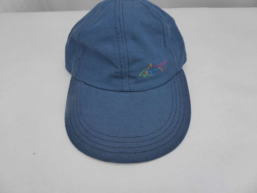 Greg Norman The Shark Hat Reebok Made in USA! Embroidered shark on front  right Elastic Back - OSFA OSFM Blue Vintage New without tags - some shelf  wear on ... eaa9ea11a714