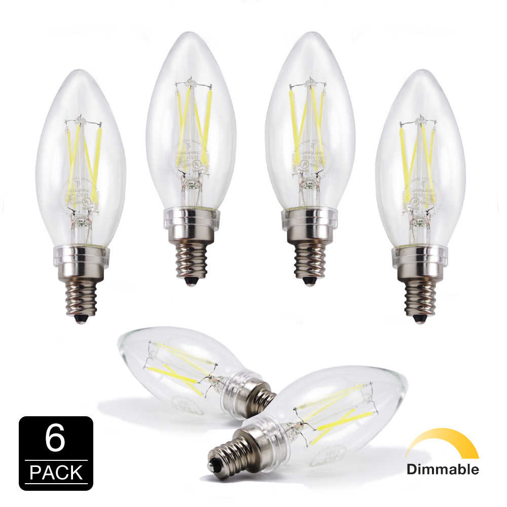 Candelabra Led Bulb: LED 6500K Daylight 40W Equivalent Dimmable Cool Chandelier
