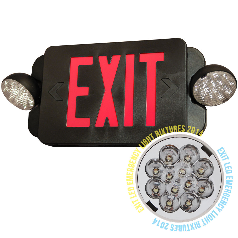 led exit sign emergency light red compact combo ul924. Black Bedroom Furniture Sets. Home Design Ideas