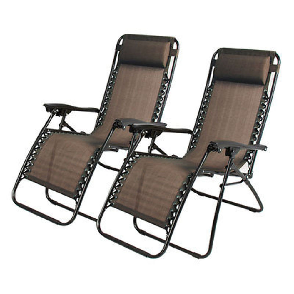 2pcs Folding Zero Gravity Reclining Lounge Chairs Outdoor