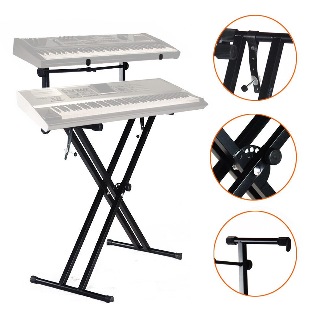pro adjustable 2 tier x style dual keyboard stand electronic piano double new 757764197766 ebay. Black Bedroom Furniture Sets. Home Design Ideas