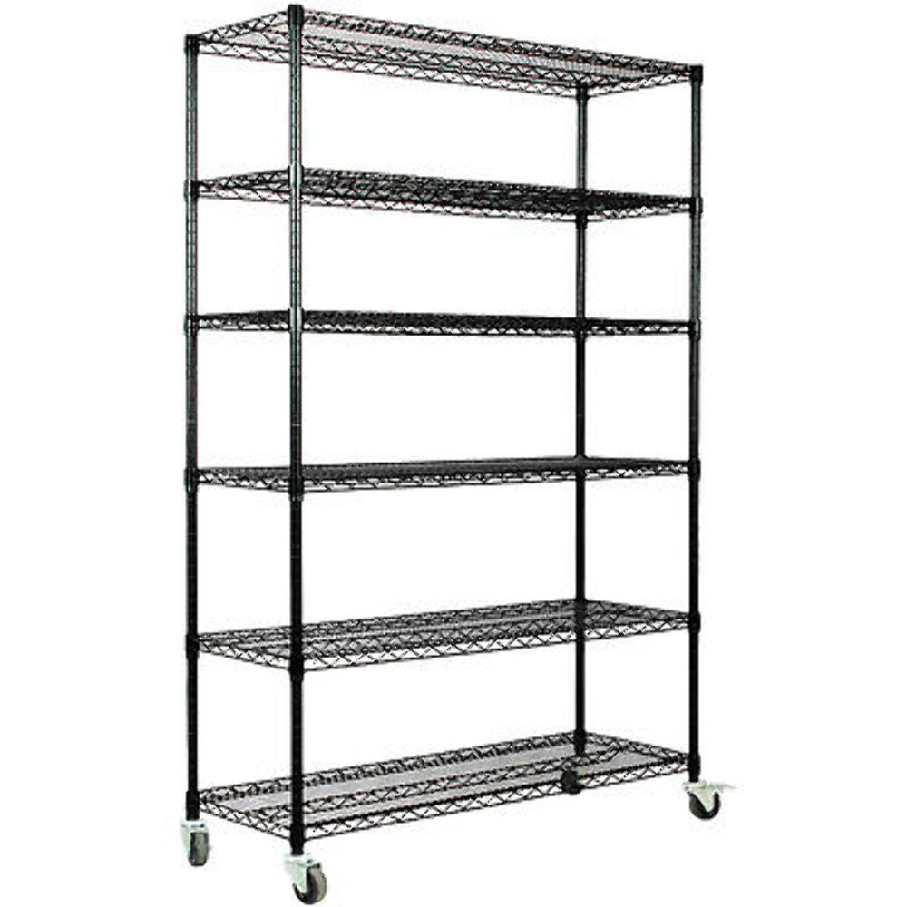 Black Storage Rack 6-Tier Organizer Kitchen Shelving Steel
