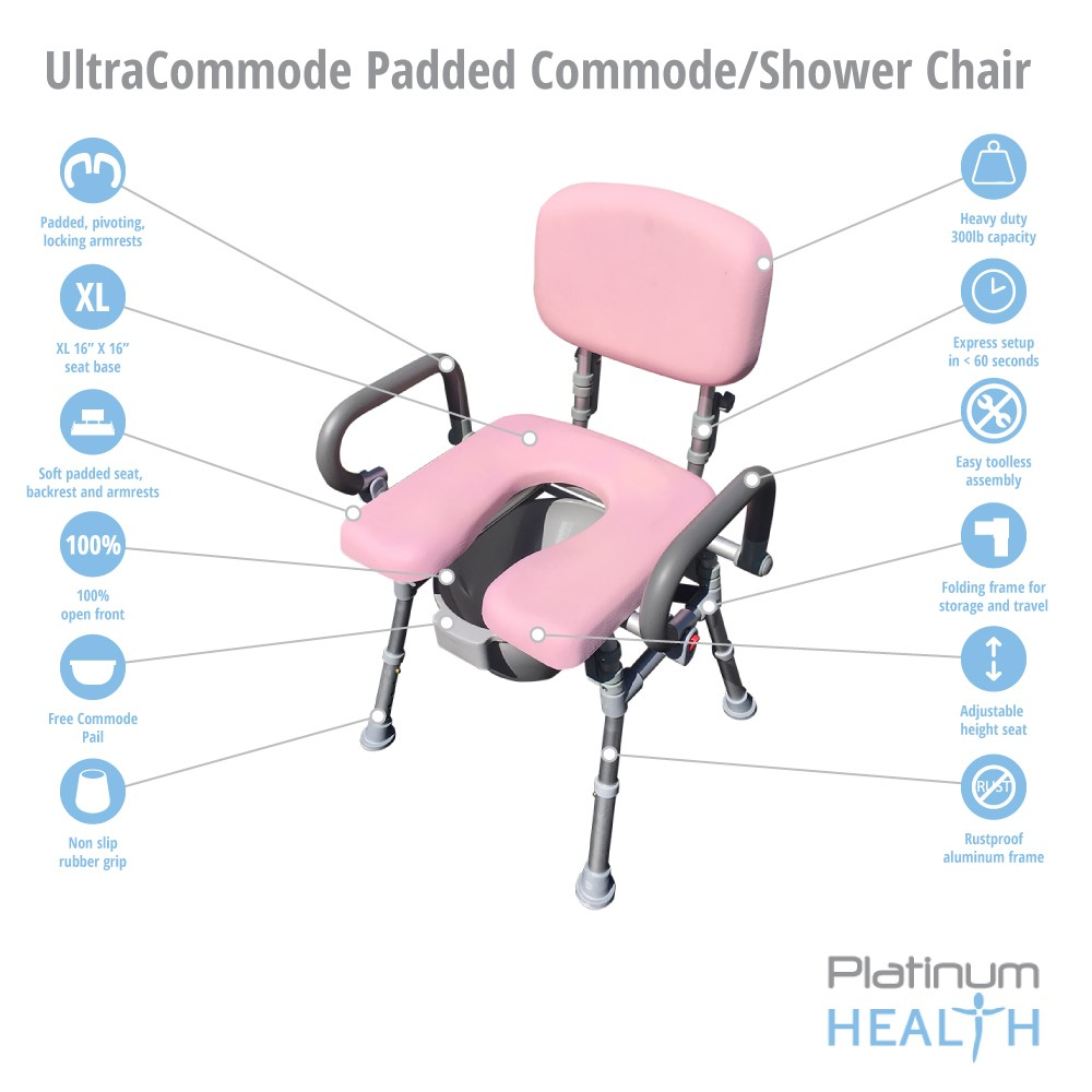 UltraCommode™ Comfortable Bedside Commode Bath Shower Chair Foldable ...
