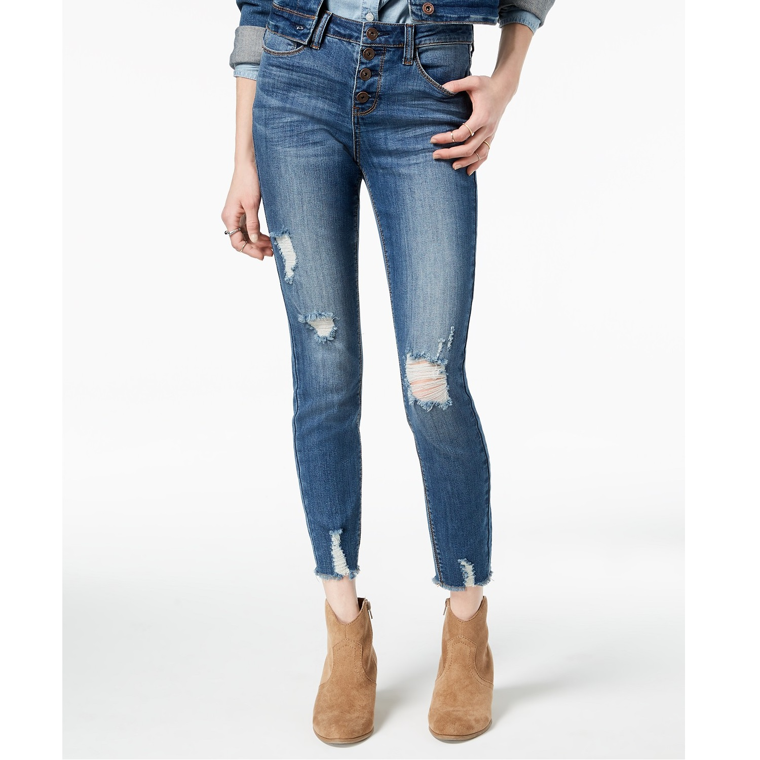 American Rag Juniors Embroidered Ripped Cropped Skinny Jeans