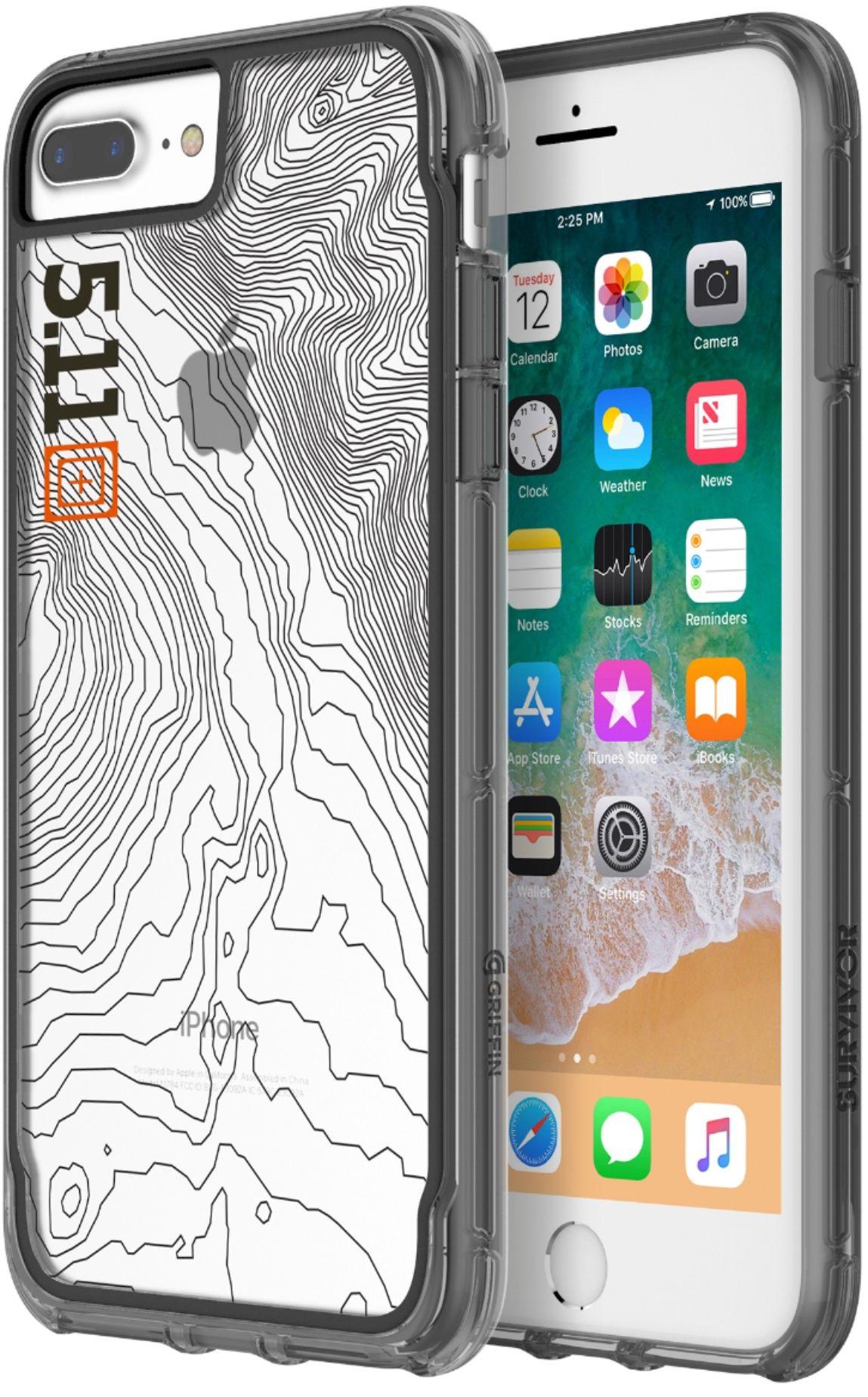 769147e16df Griffin Survivor 5.11 Tactical Edition Protective Case for iPhone 8 Plus & 7  Plus - Clear/Black/Gray