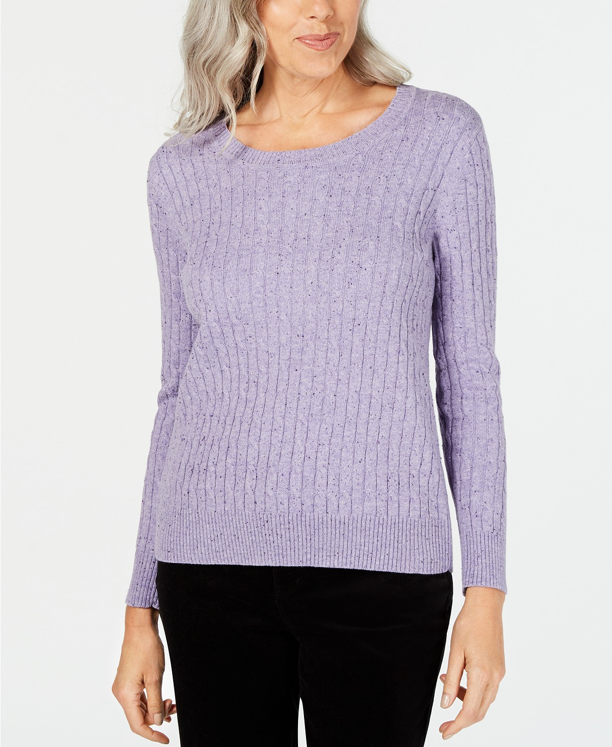 Style & Co Womens Sweater Purple Size 3X Plus Knitted Cable Knit $69 #010 | eBay