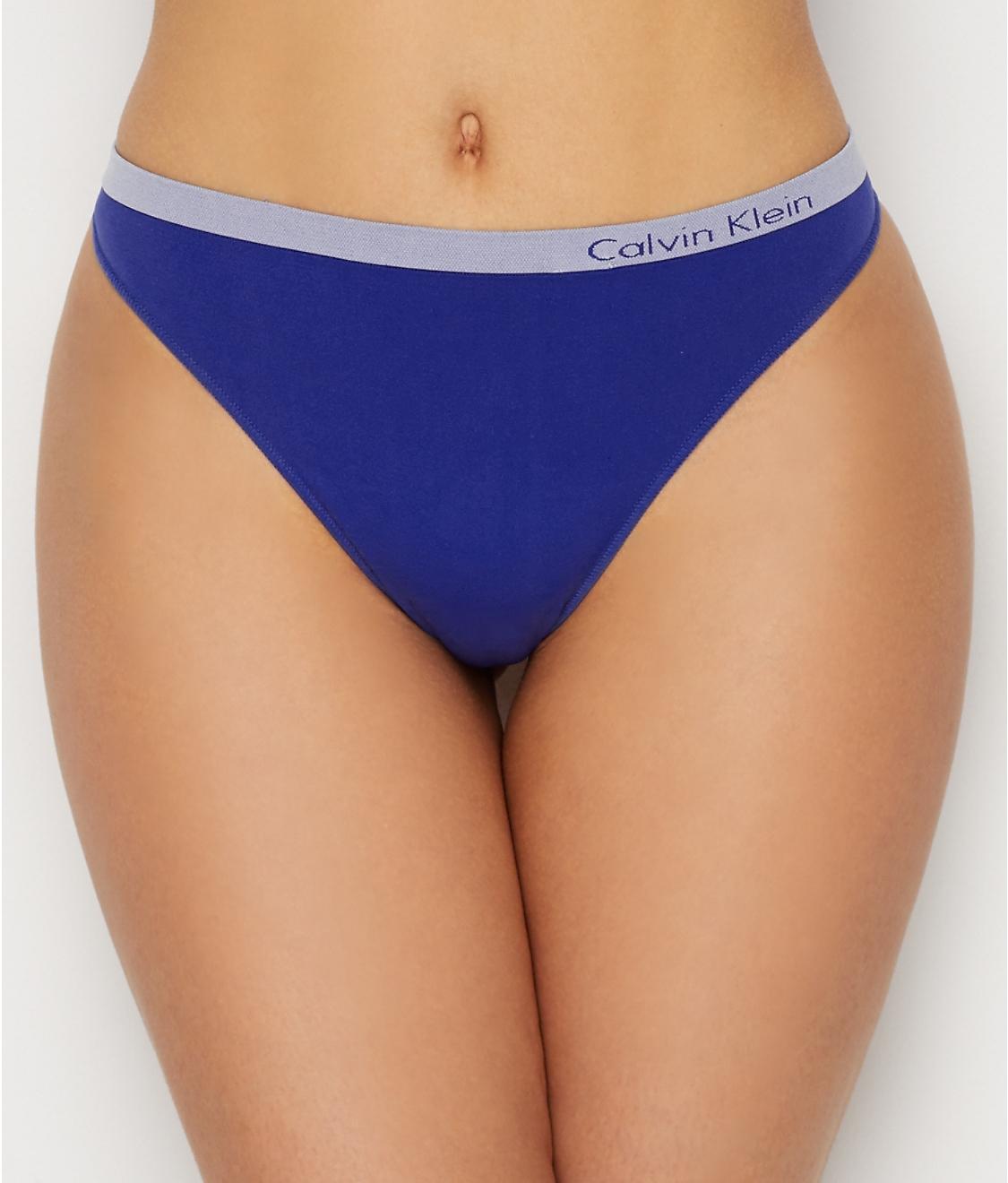 b59c905c401fa0 Calvin Klein Women's Pure Seamless Thong Panty Dark Midnight Size Large
