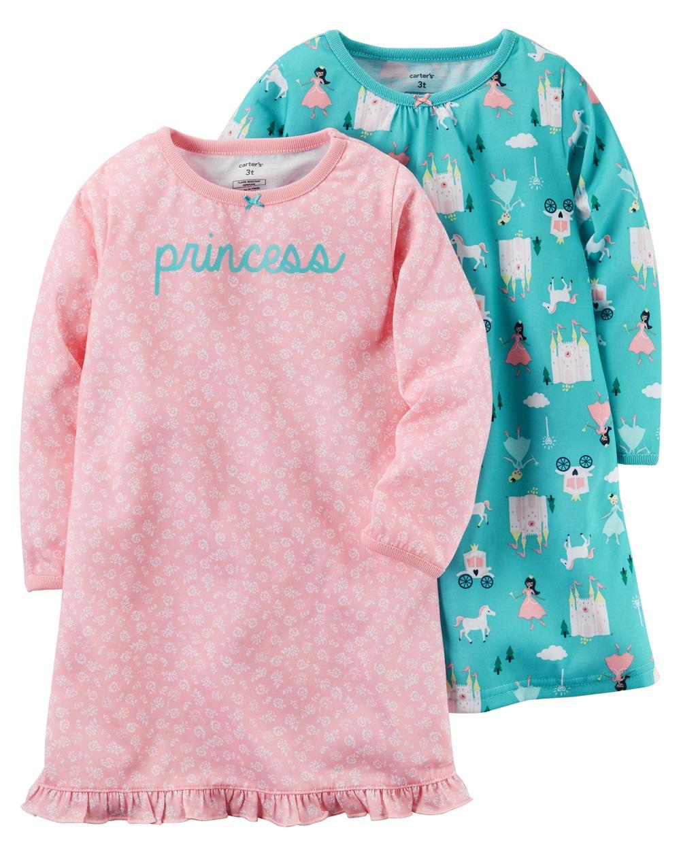 Carter\'s Little Girls\' 2-Pack Sleep Gowns, Princess Pattern, 2-3 ...
