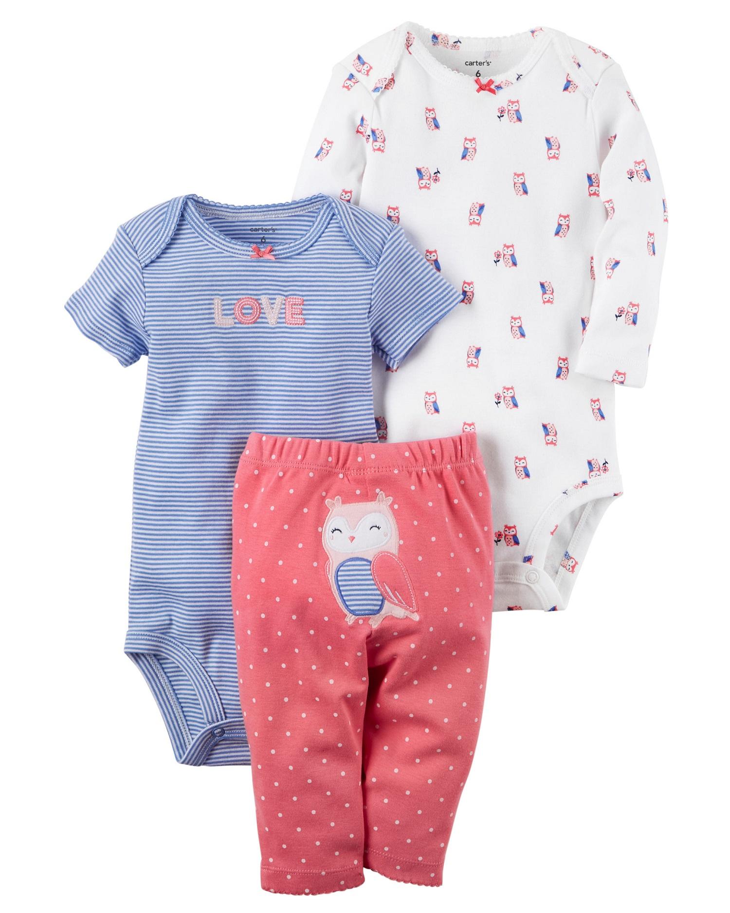 dbc7e38bff2f Carter's Baby Girls' 3-Piece Little Character Set, 3 Months ...