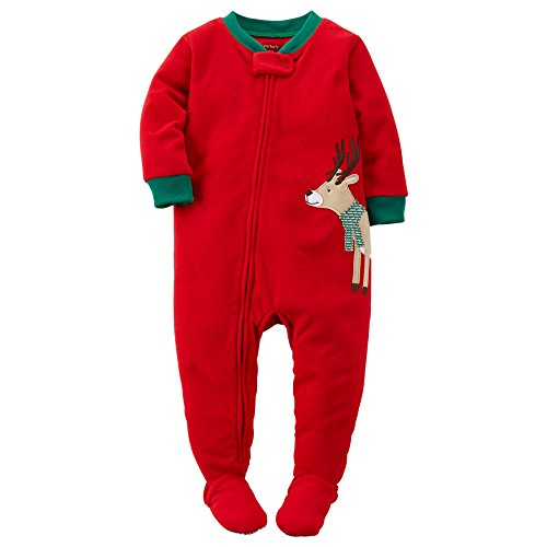 acbf9a811 Carter s Baby Boys  Holiday Microfleece One Piece Footed Pajamas 12 ...