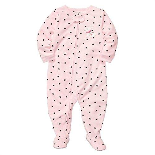 f4d3c50759 Carter s Little Girls  1 Piece Microfleece Pajamas Bunny Hearts 5T ...
