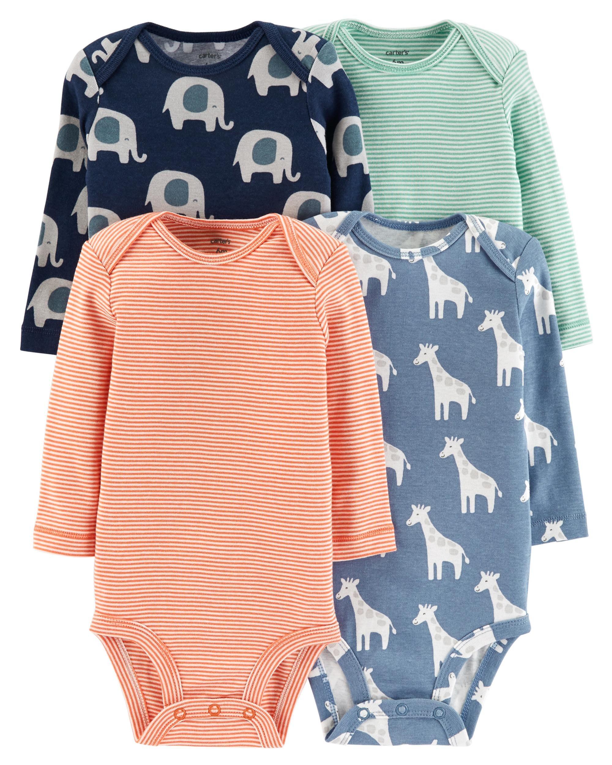 738a9462a67 Carter s Baby Boys 4 Pack Long Sleeve Bodysuits - Animal